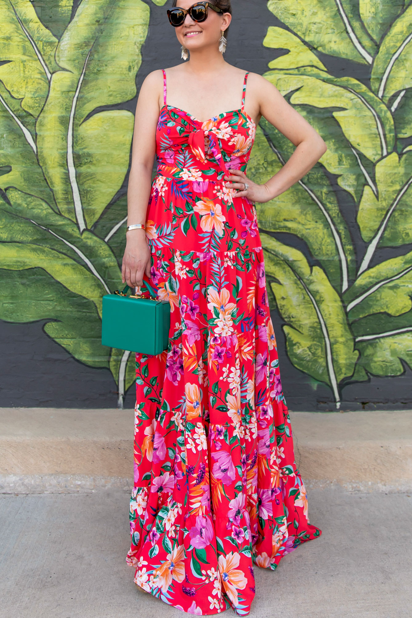 Eliza J Orange Floral Maxi Dress