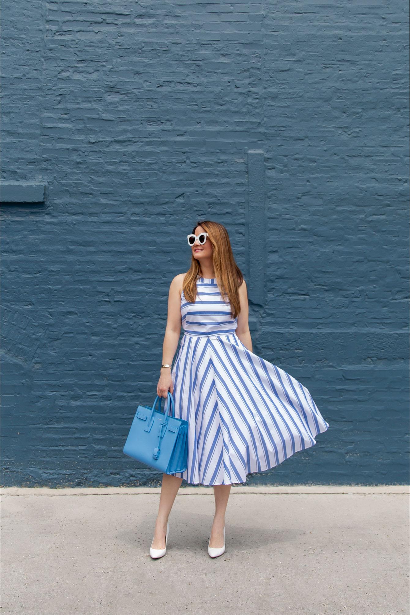 Jennifer Lake Blue Stripe Dress