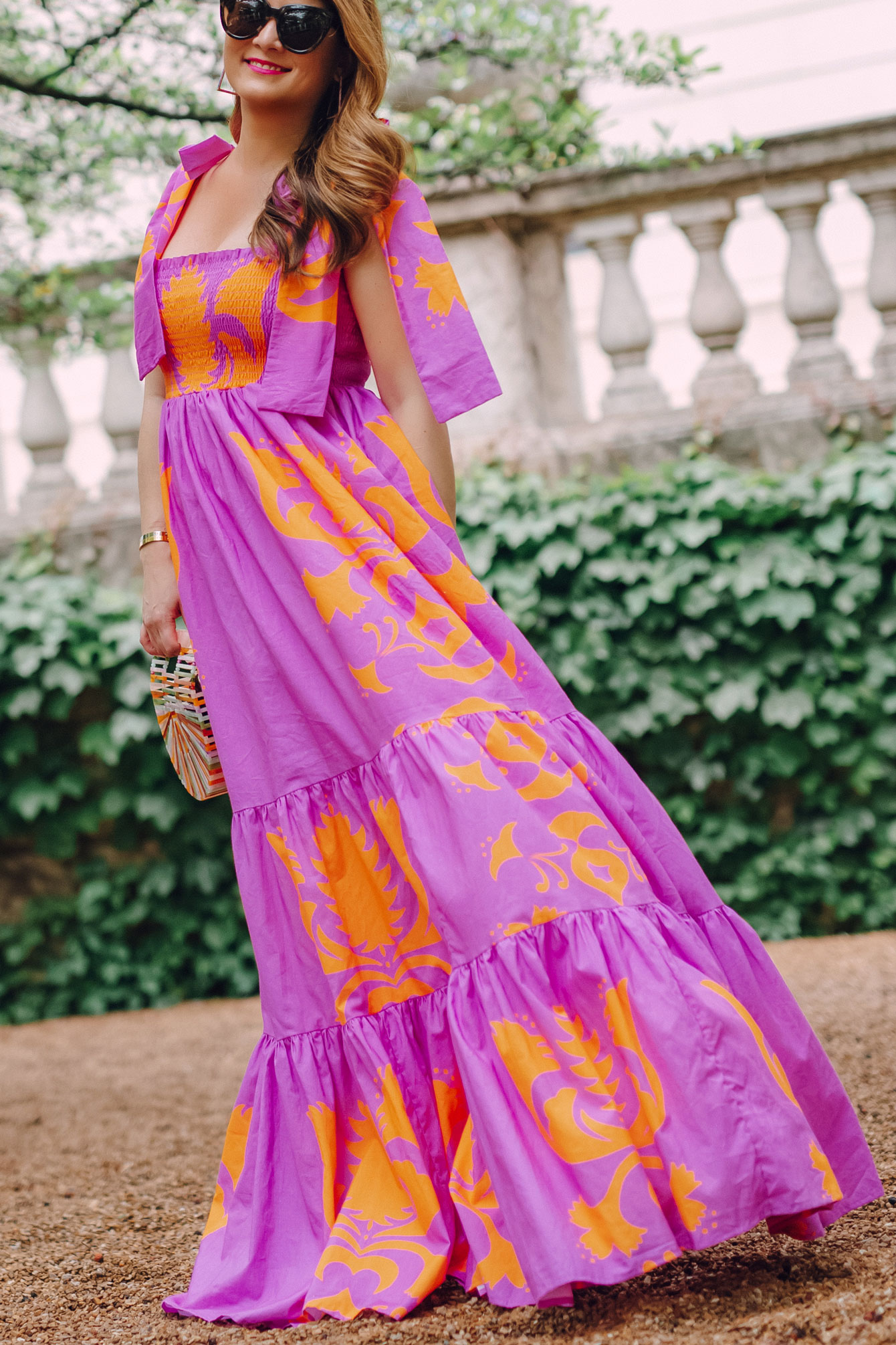 Jennifer Lake Purple Orange Maxi Dress