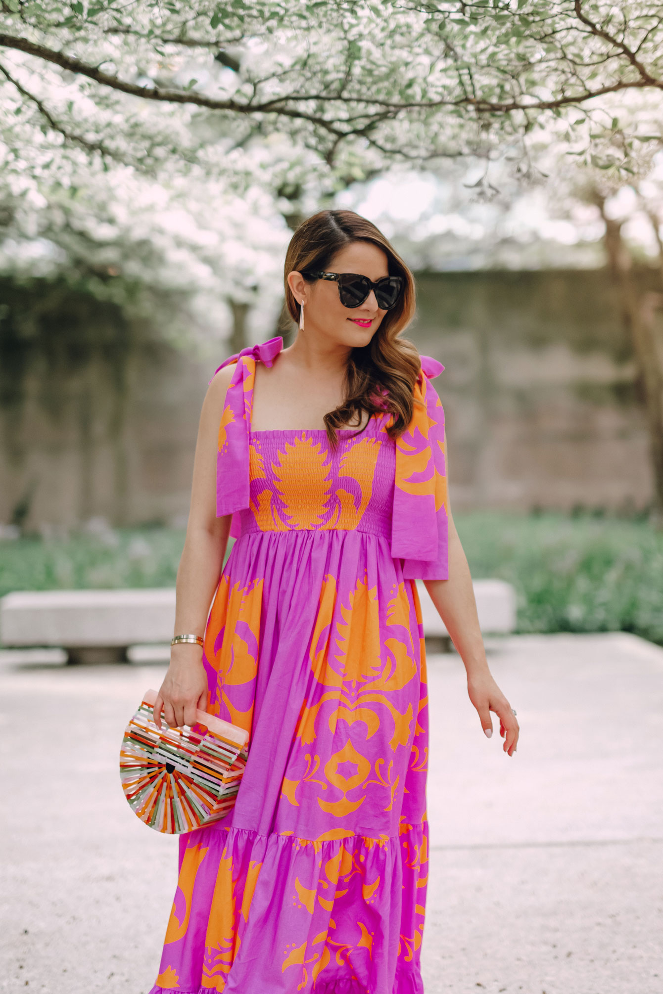 Orange Purple Tie Shoulder Maxi Dress