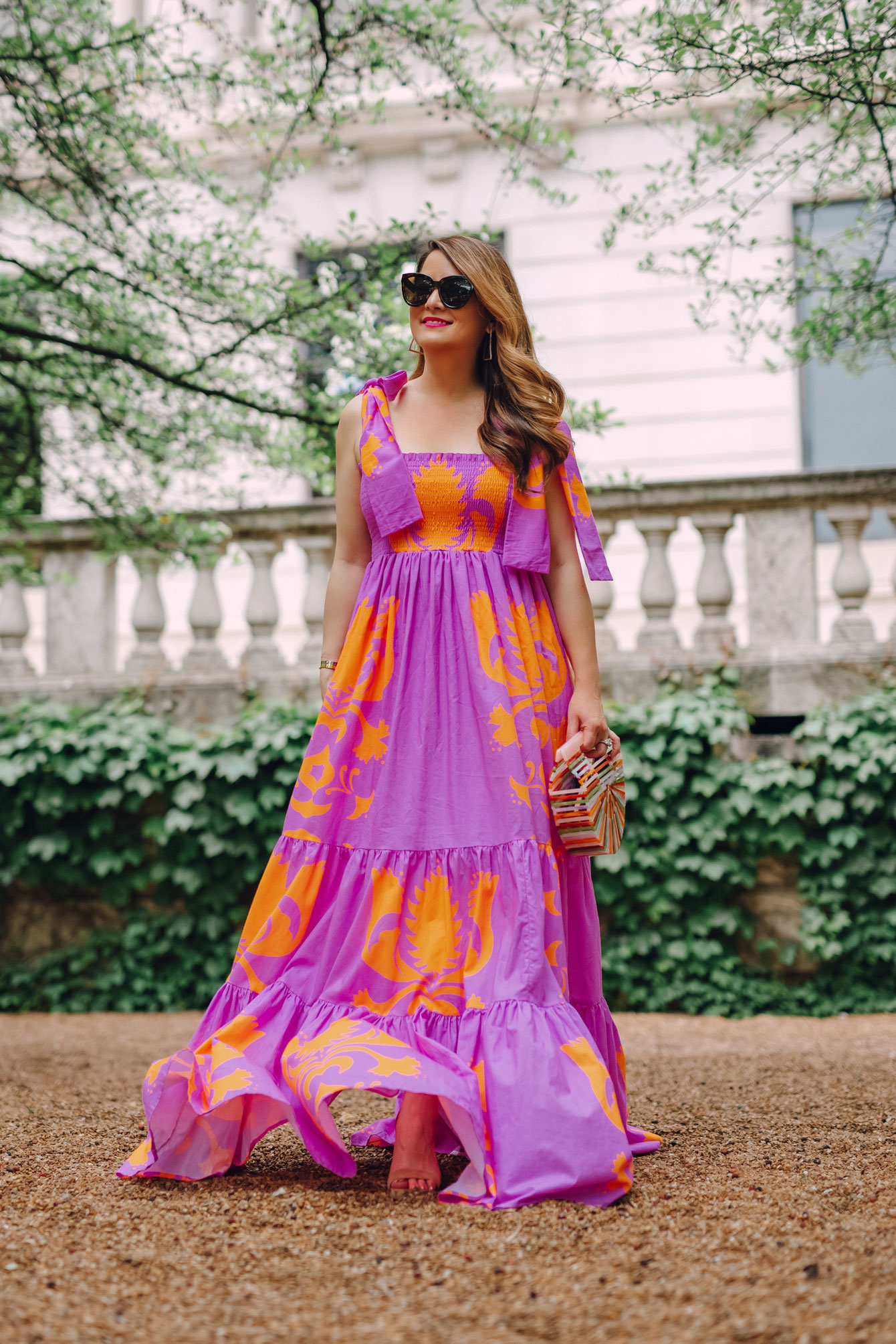 Sheridan French Purple Orange Maxi Dress