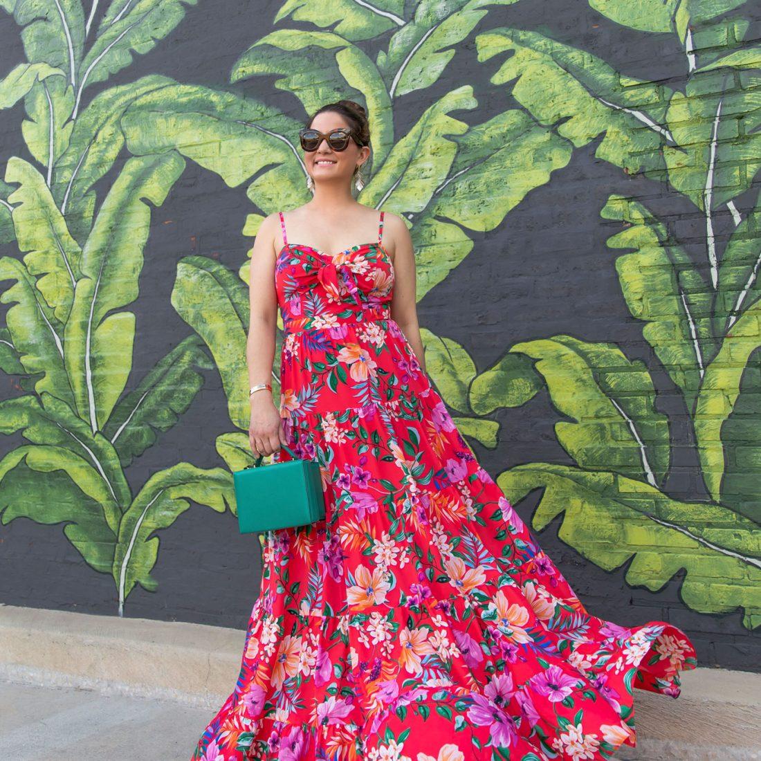 Tropical Print Floral Maxi