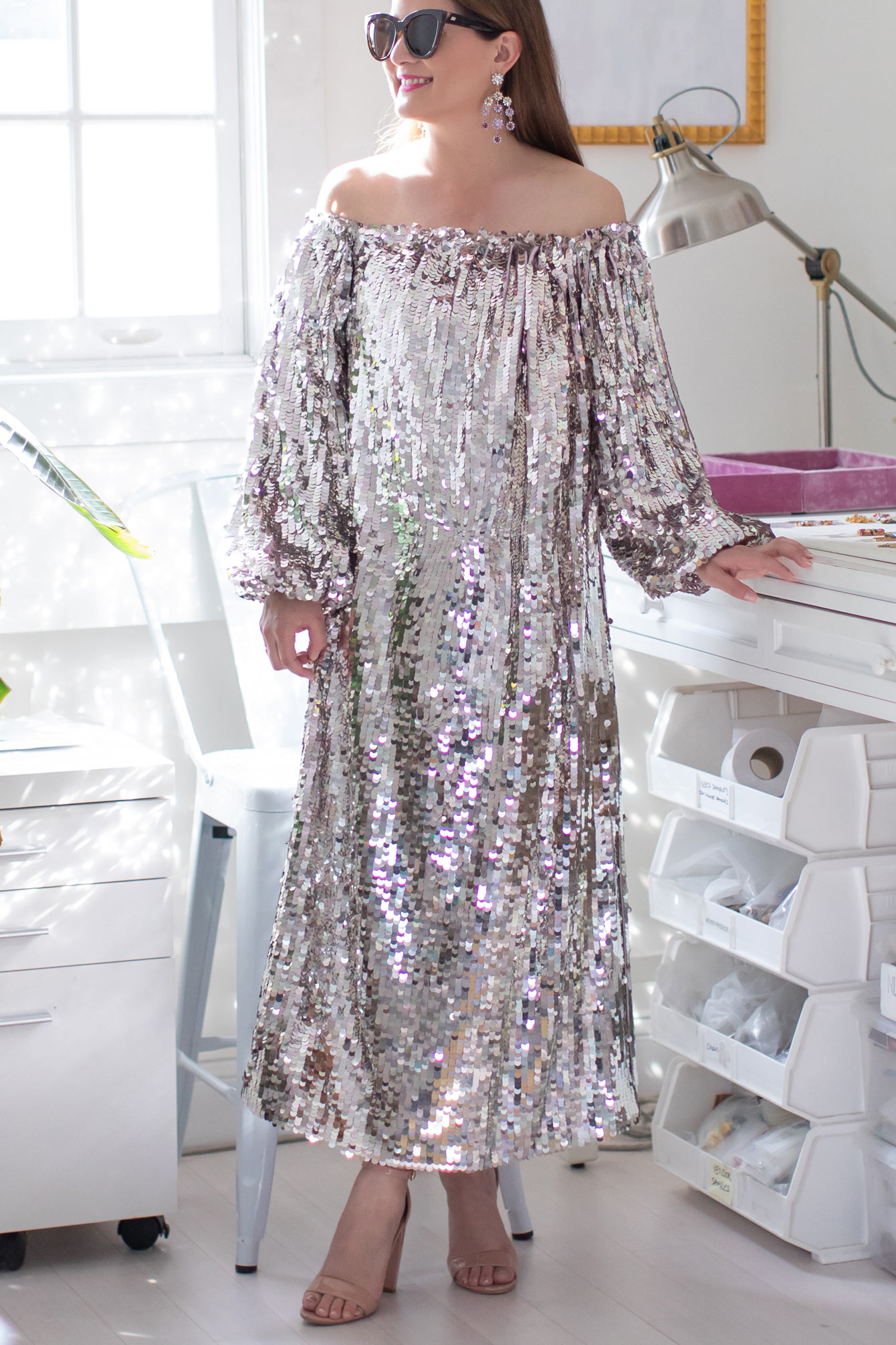 ASOS Sequin Off Shoulder Dress
