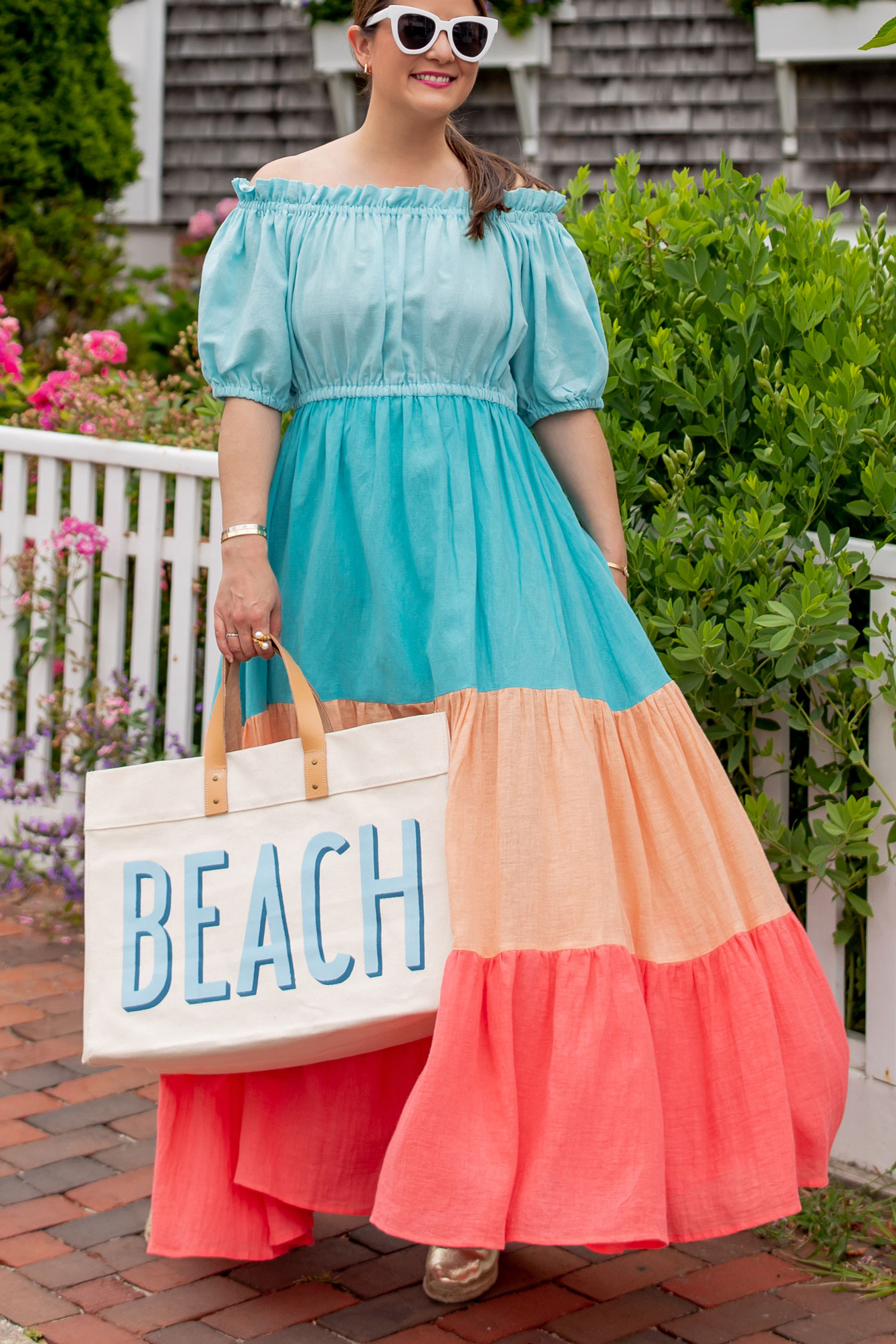 Blue Pink Orange Maxi Dress