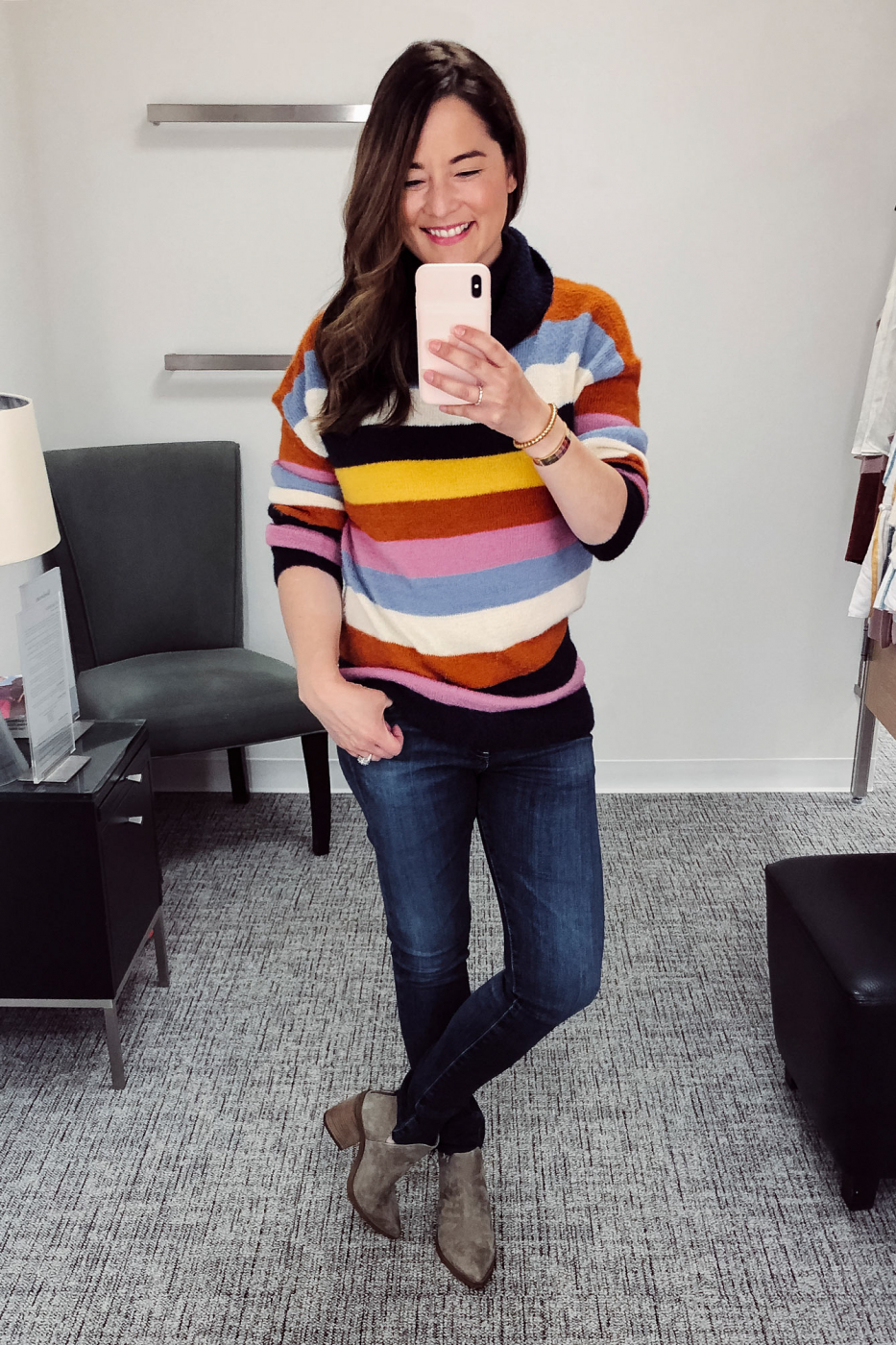 Caslon Multicolor Stripe Turtleneck