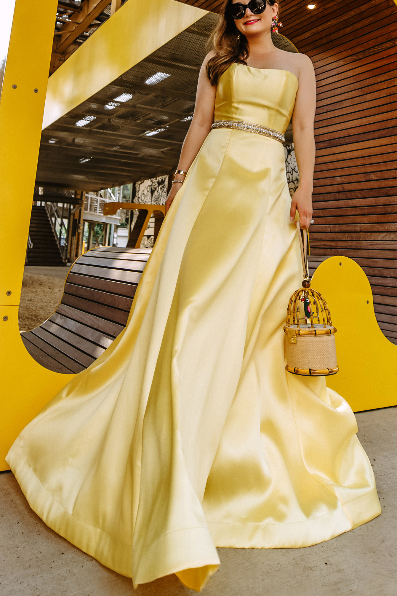 Crystal Embellished Yellow Gown
