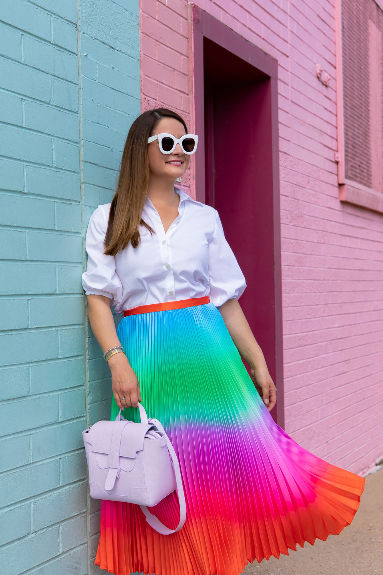 Delfi Ombre Rainbow Pleated Skirt
