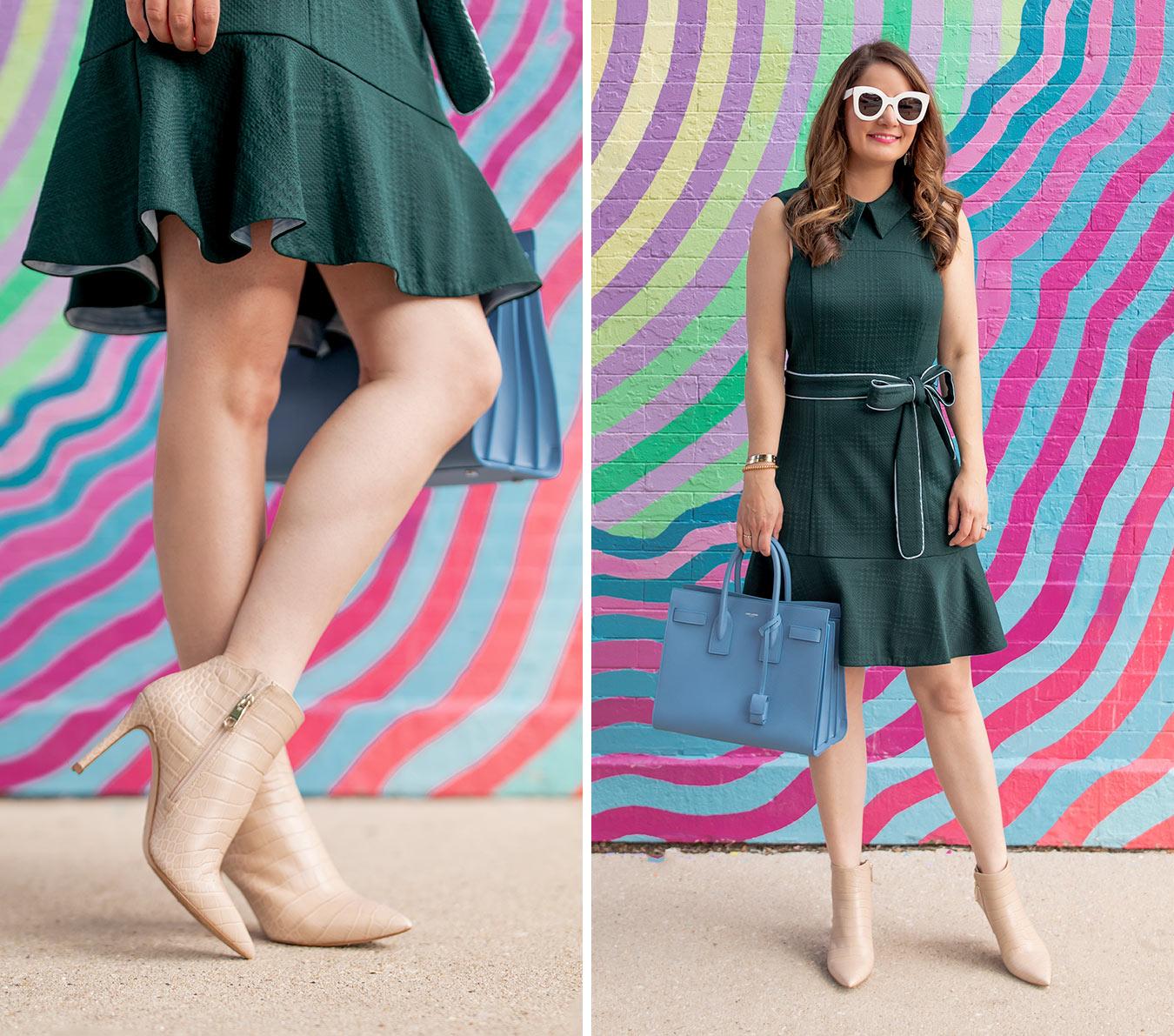 Eliza J Collared Green Sleeveless Dress