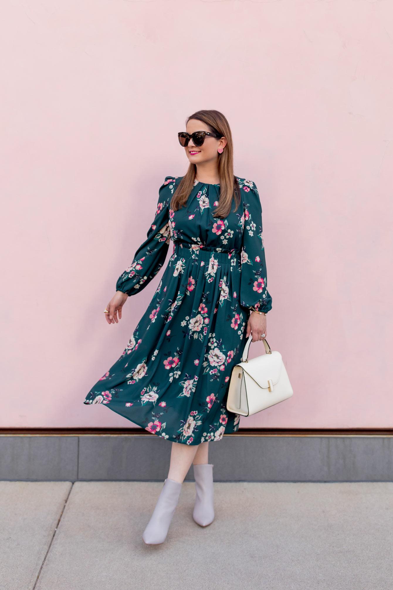 Eliza J Green Floral Pleated Midi Dress