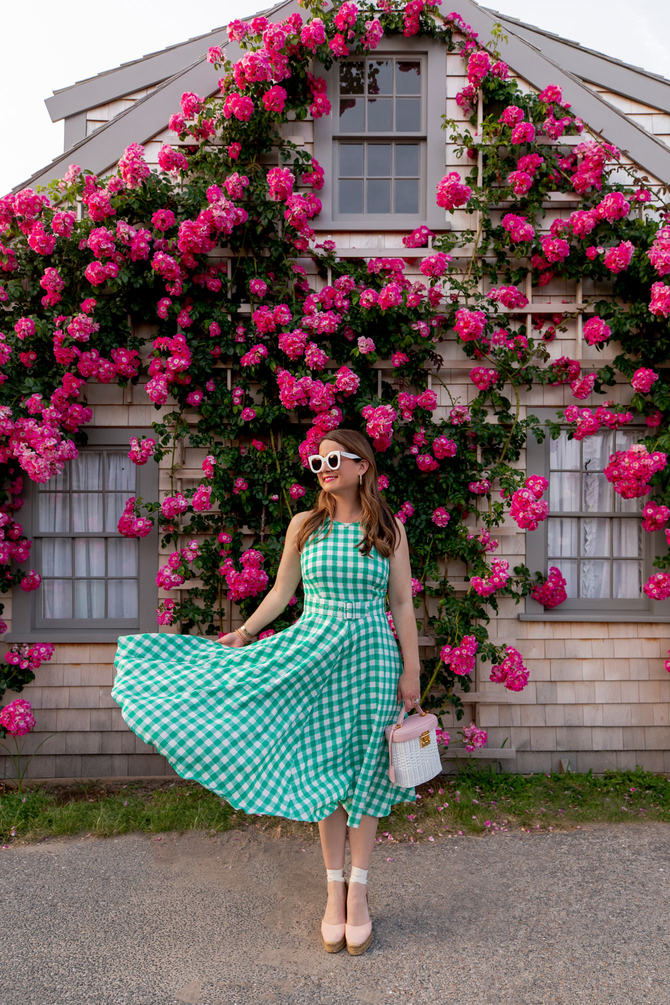 Eliza J Green Gingham Belted Dress