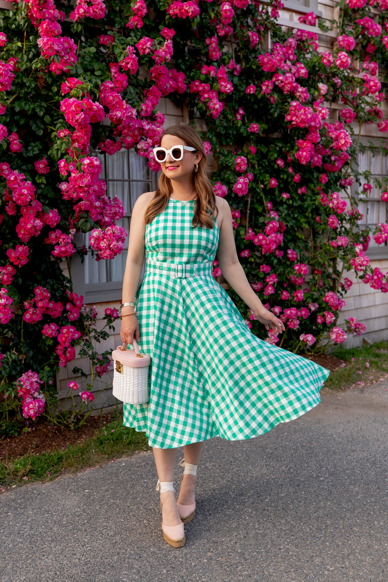 Eliza J Green Gingham Dress