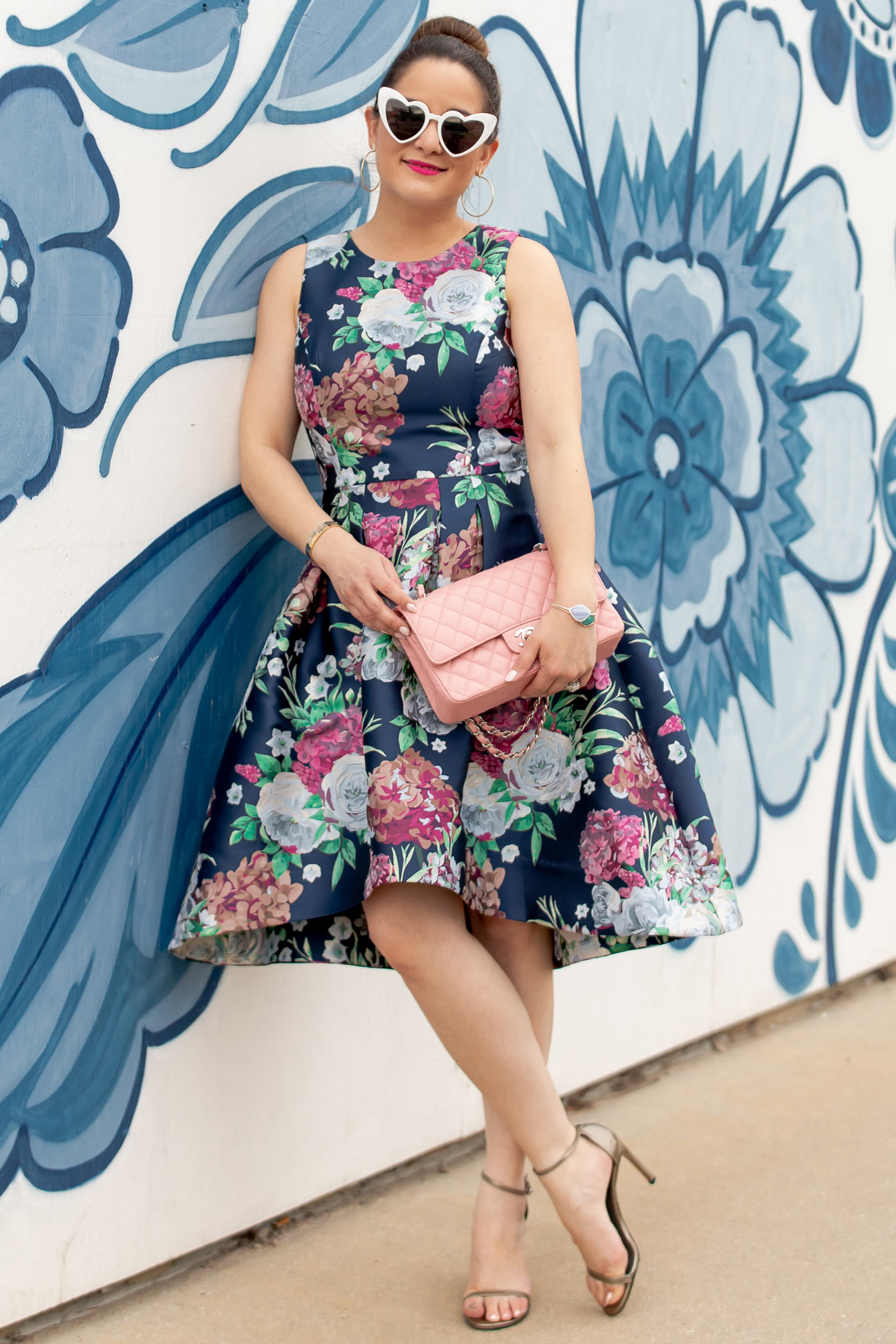 Eliza J Navy Pink Floral Brocade Dress
