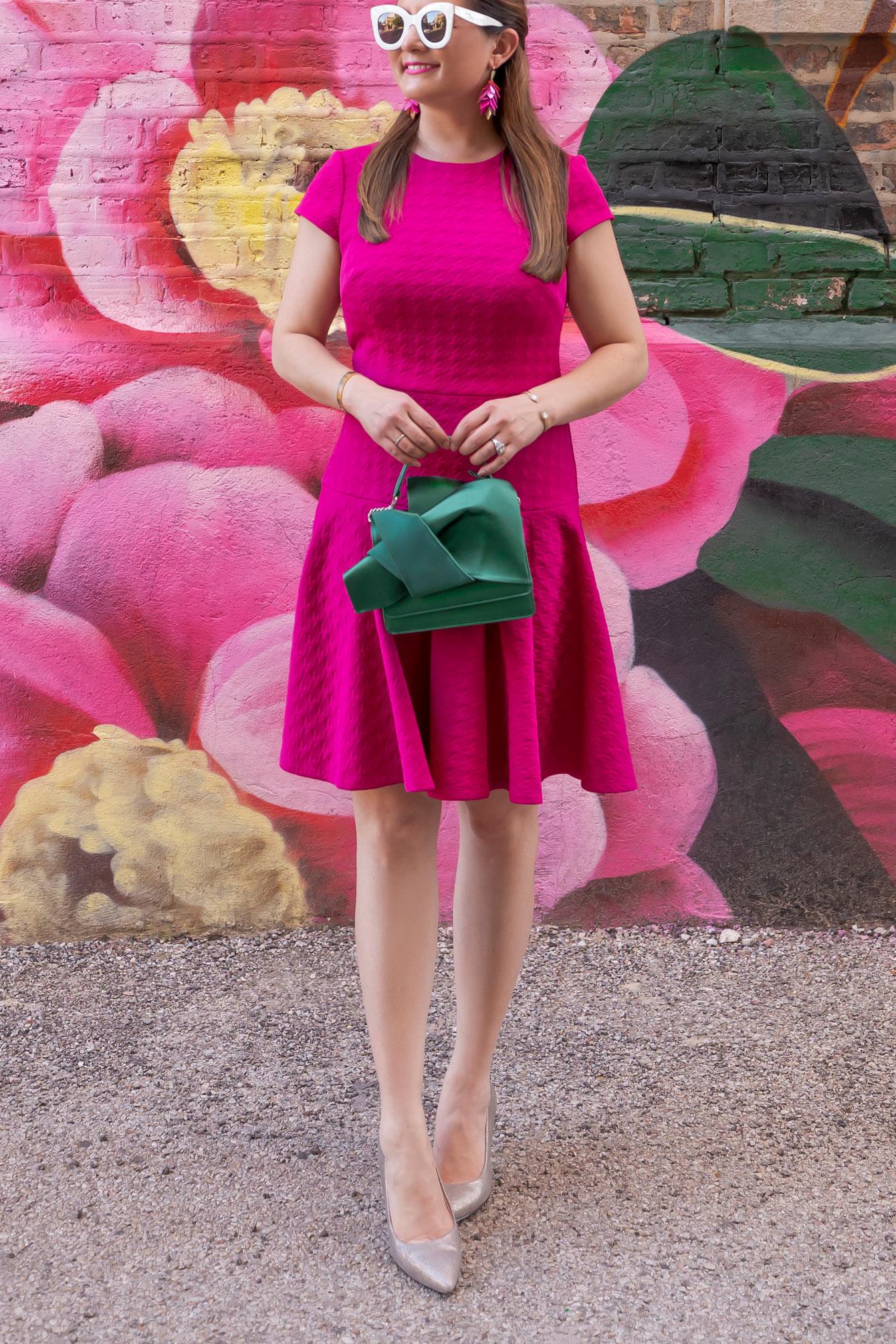 Eliza J Pink Houndstooth Mini Dress