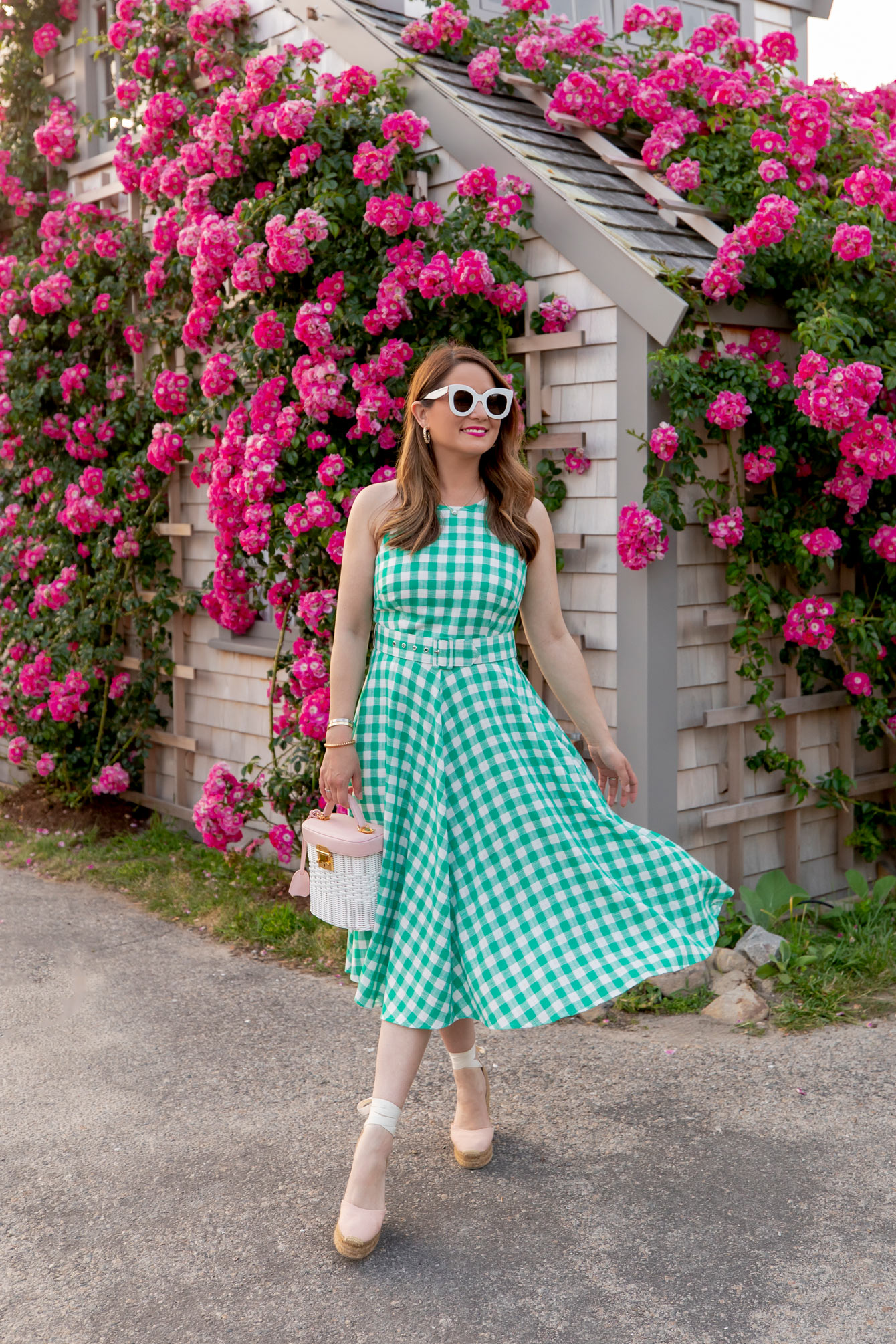 Green Gingham Fit and Flare Dress