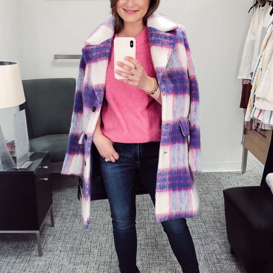 Halogen Purple Plaid Coat
