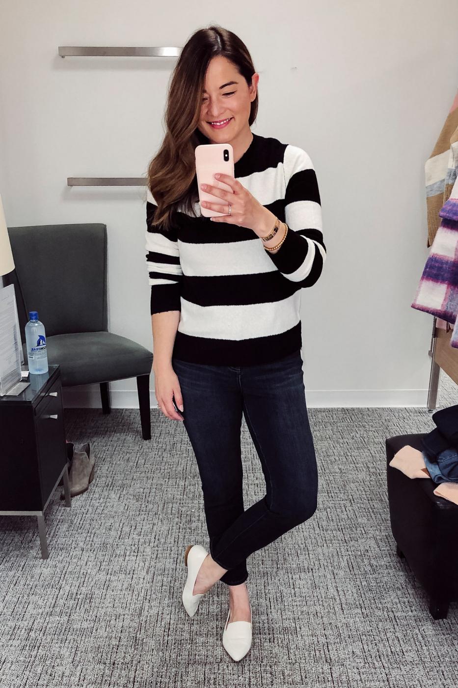 Halogen White Black Sweater
