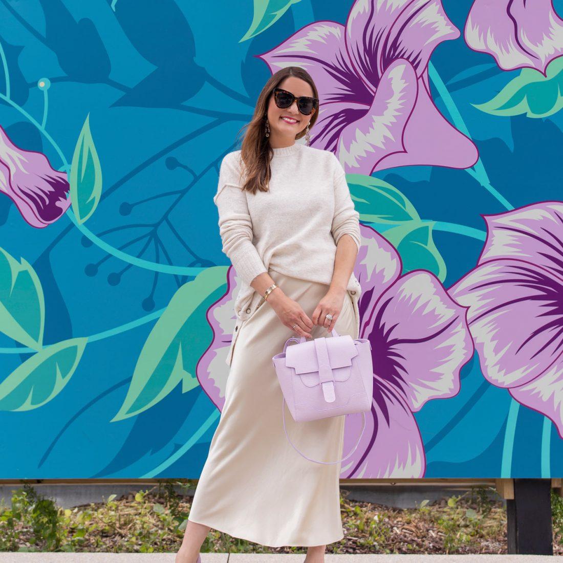 Ivory Satin Midi Slip Skirt