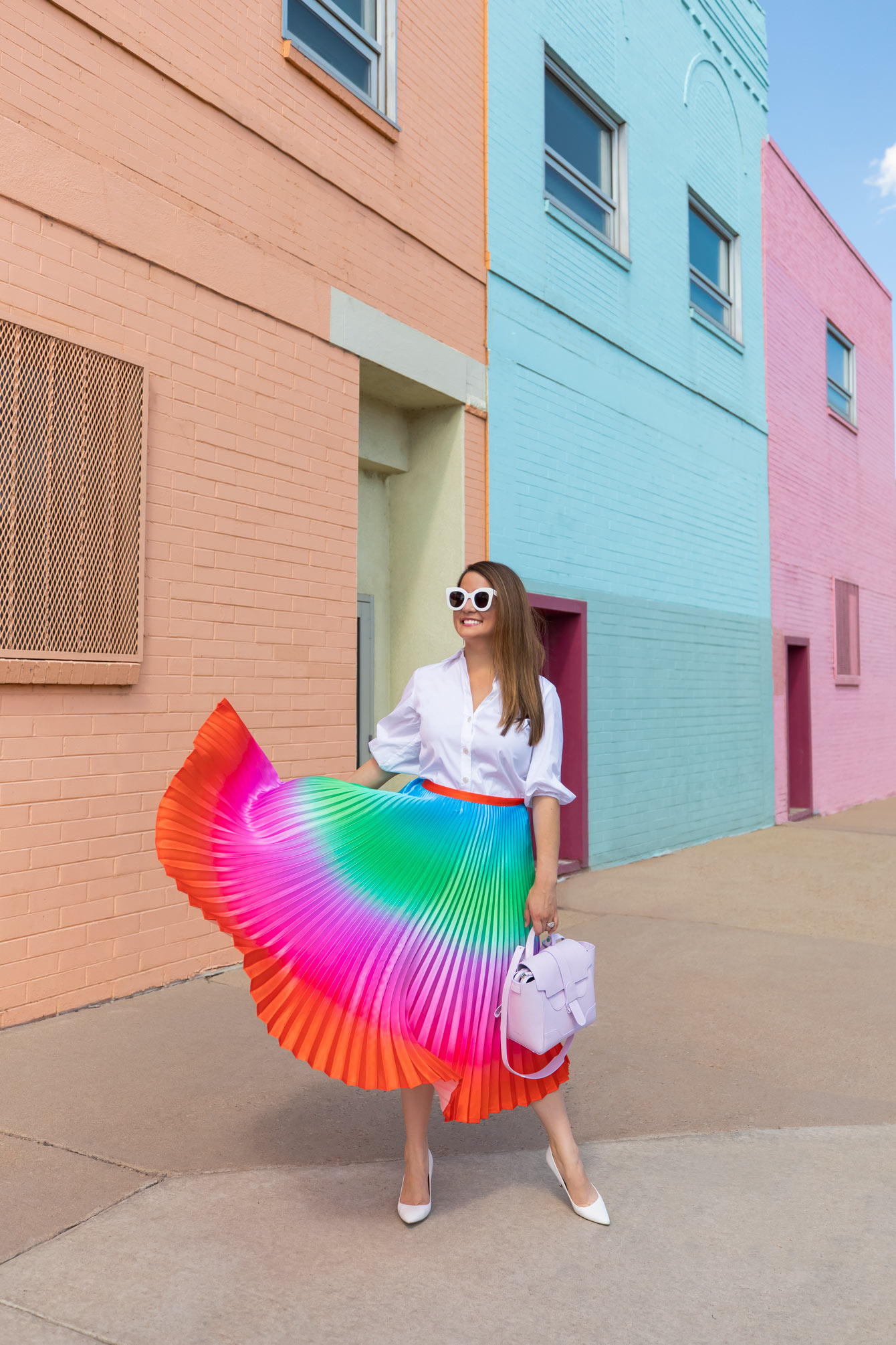 Ombre Rainbow Pleated Skirt