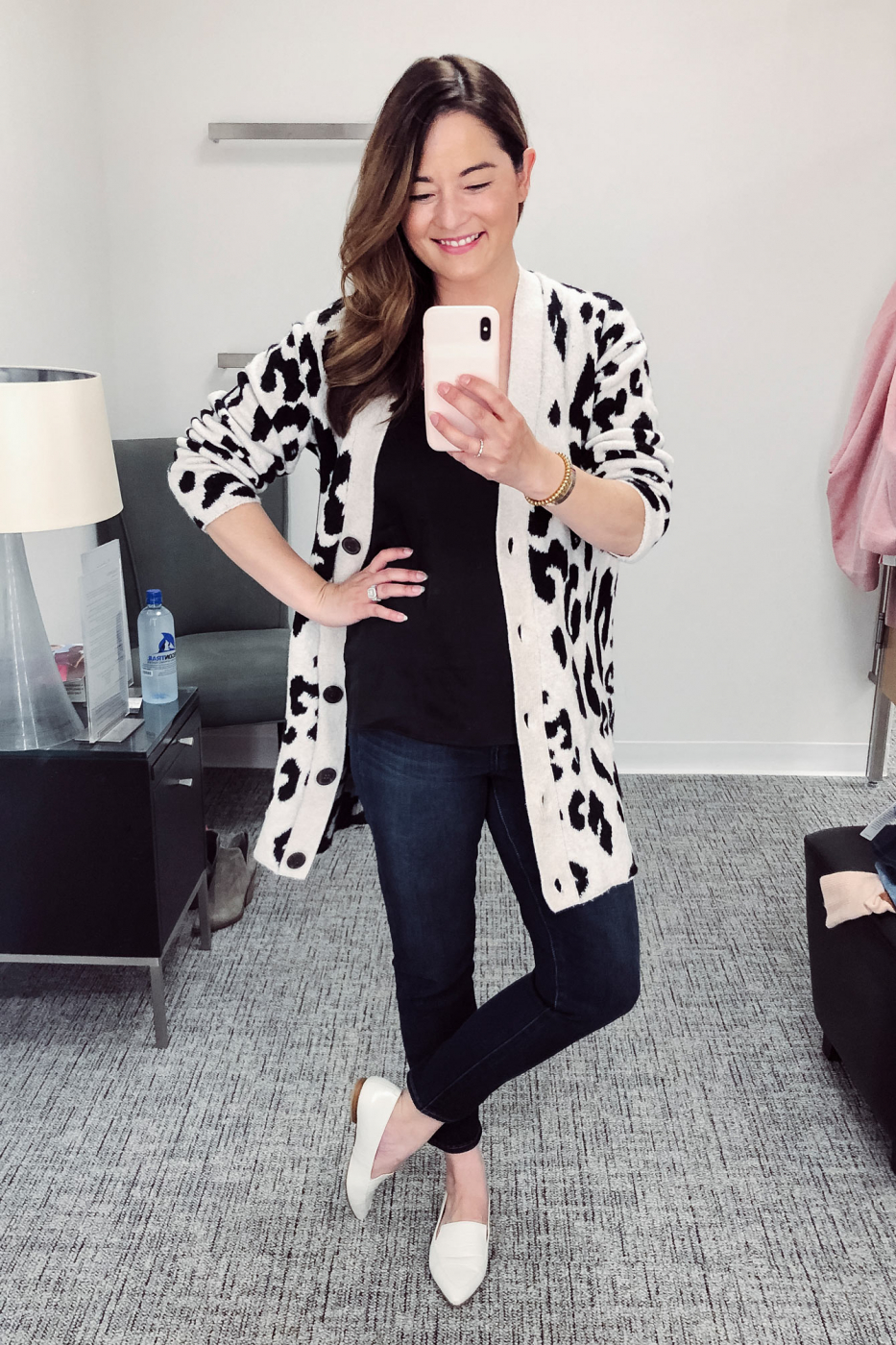 Something Navy Leopard Cardigan Sweater