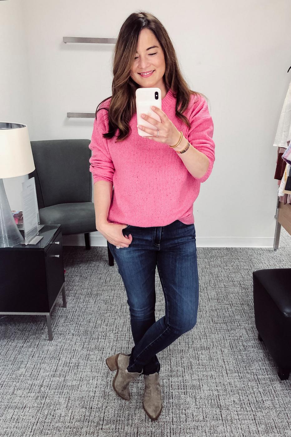 Something Navy Pink Sweater