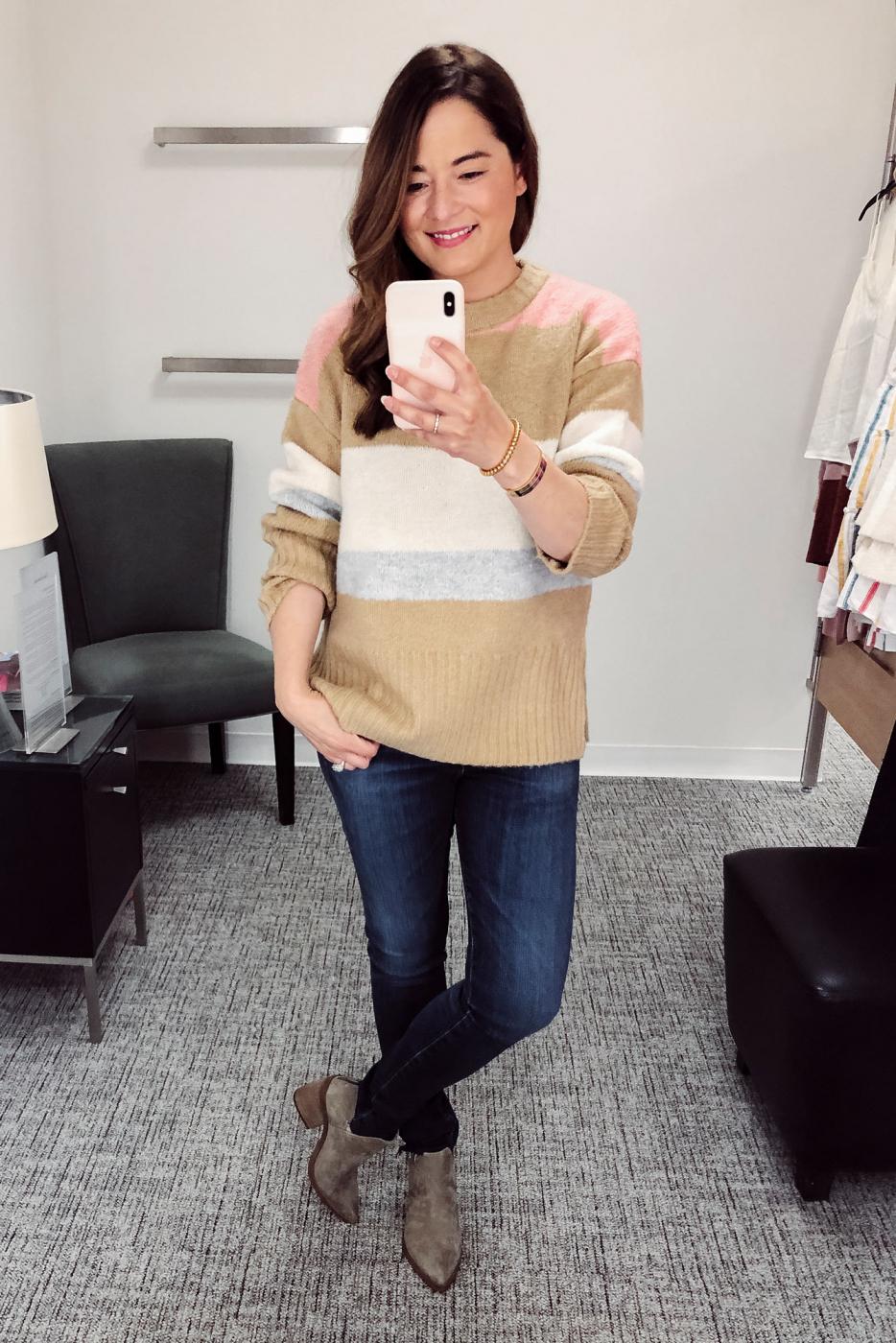 TOPSHOP Pink Tan Stripe Sweater