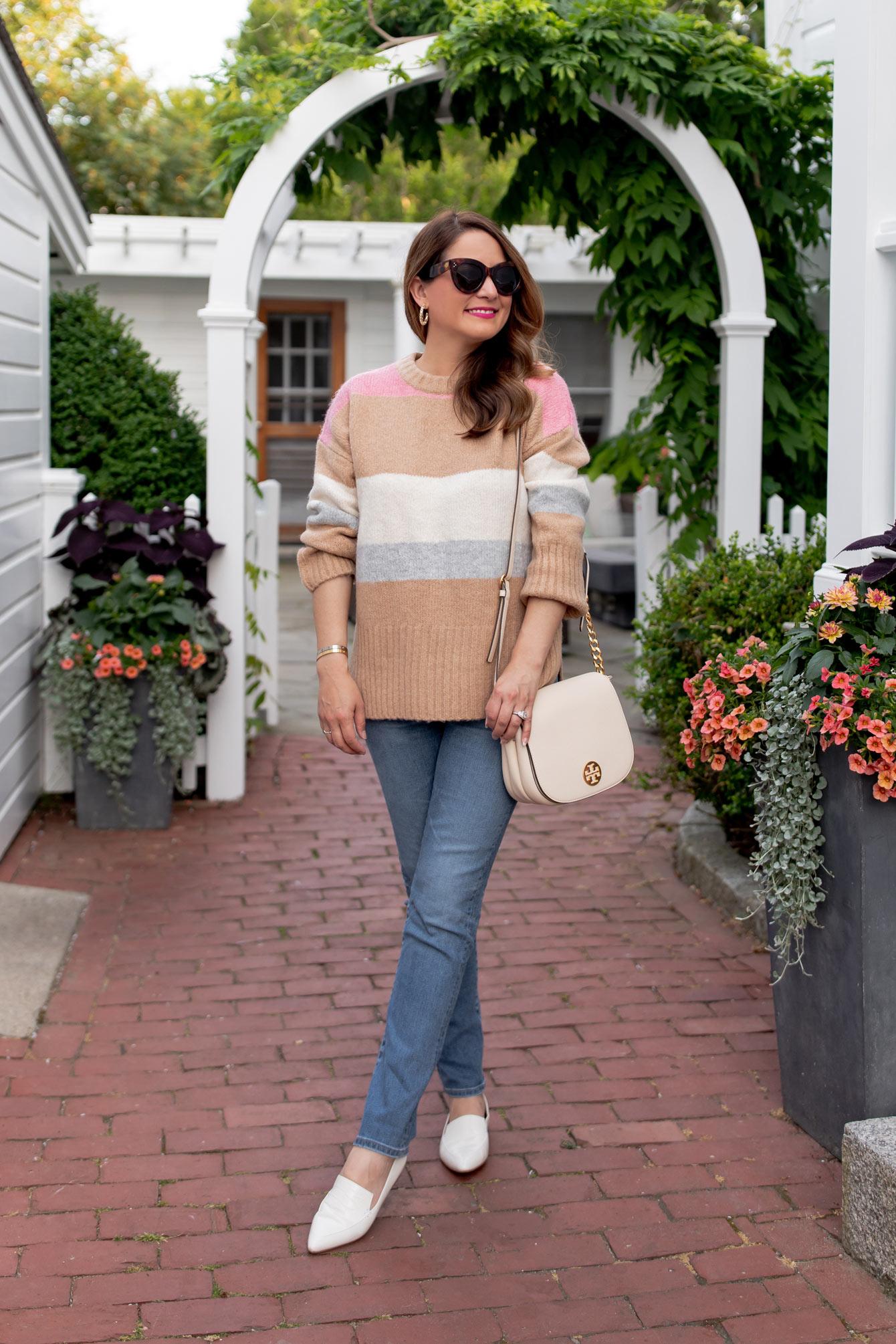 TOPSHOP Tan Pink Stripe Sweater