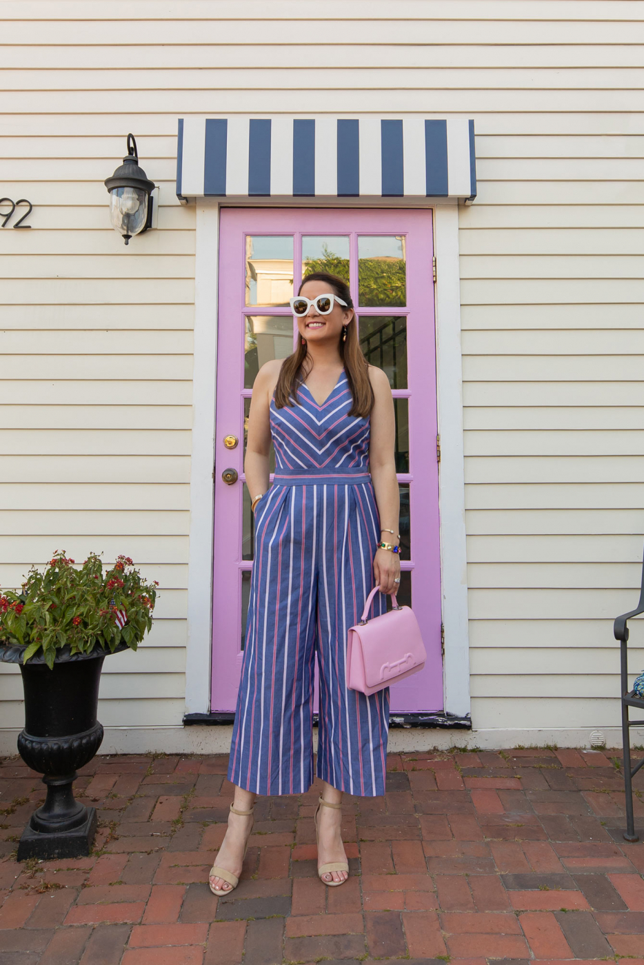 1901 Blue Pink Stripe Jumpsuit