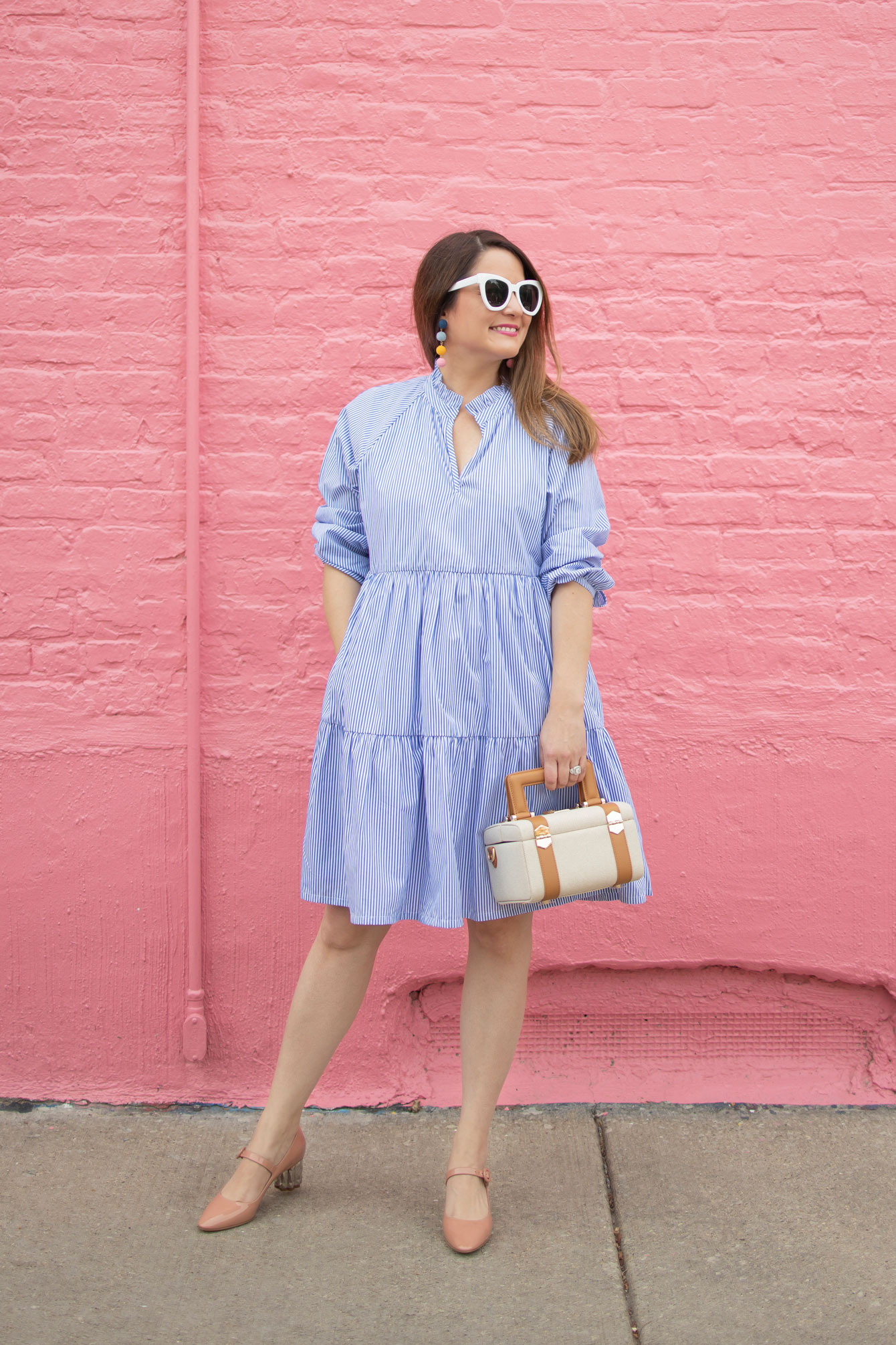 Blue Stripe Trapeze Dress