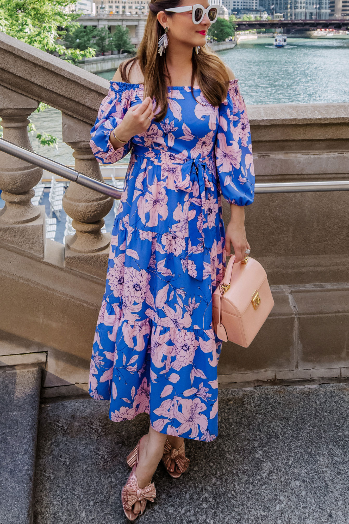 Eliza J Blue Pink Floral Dress