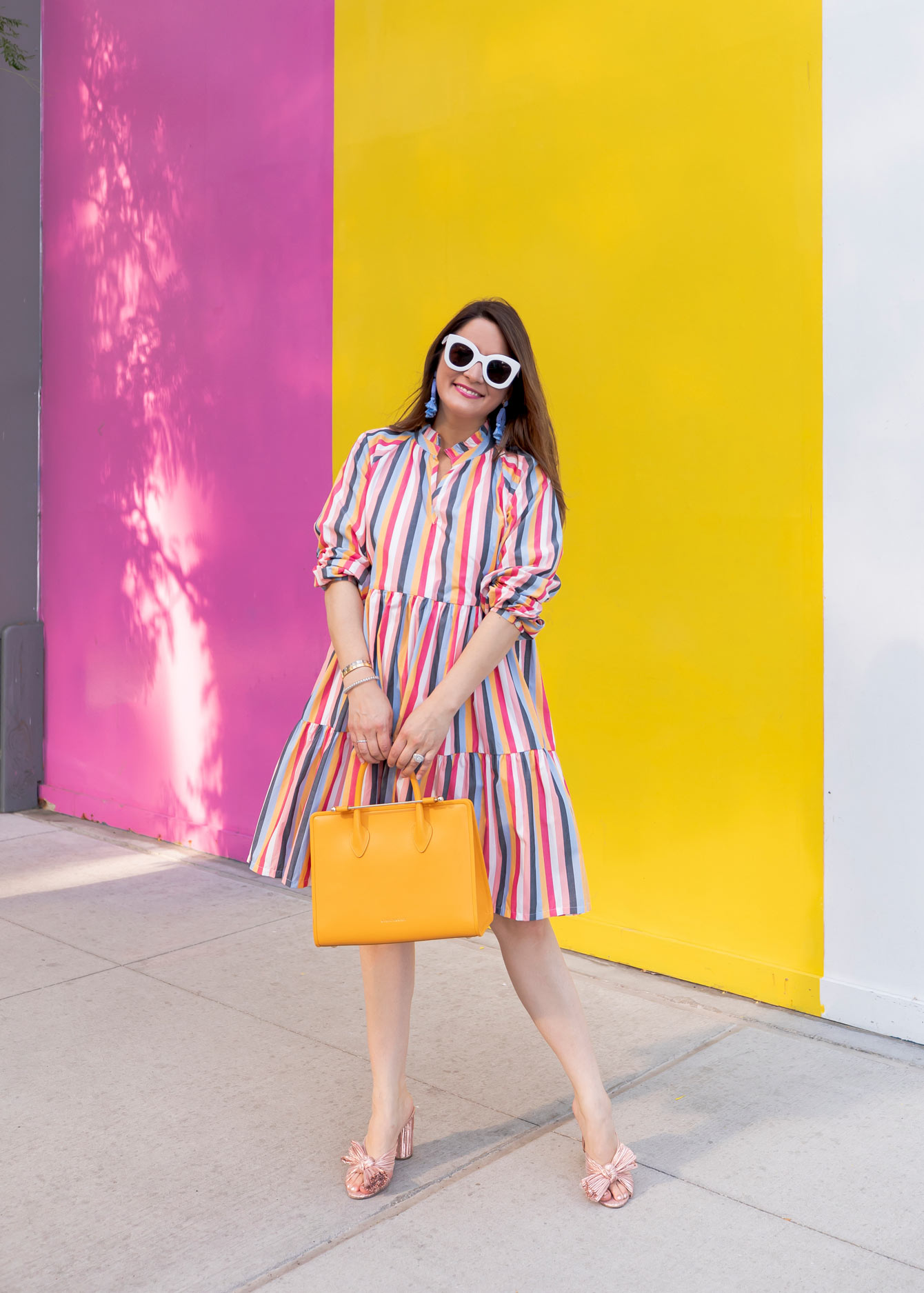 J. Crew Colorful Stripe Tiered Dress