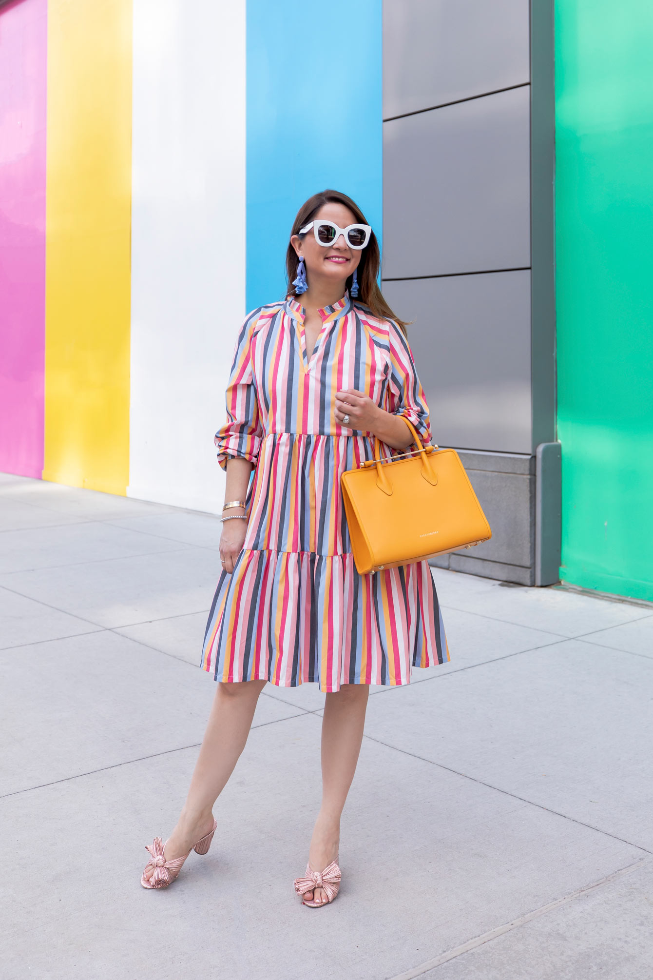 J. Crew Rainbow Stripe Tiered Dress