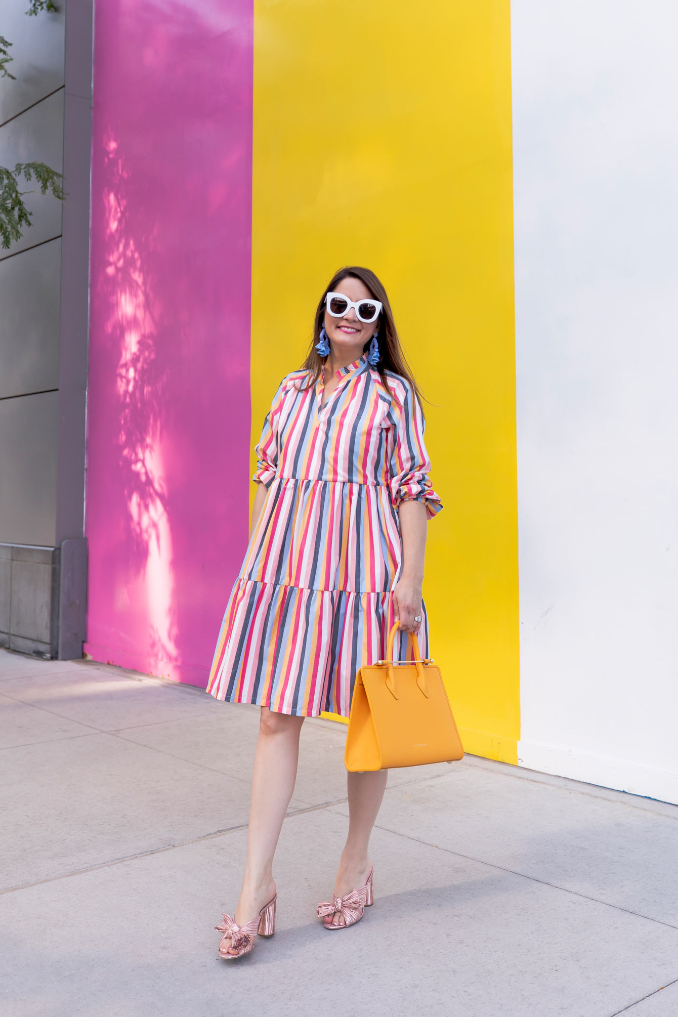 Multicolor Stripe Ruffle Dress