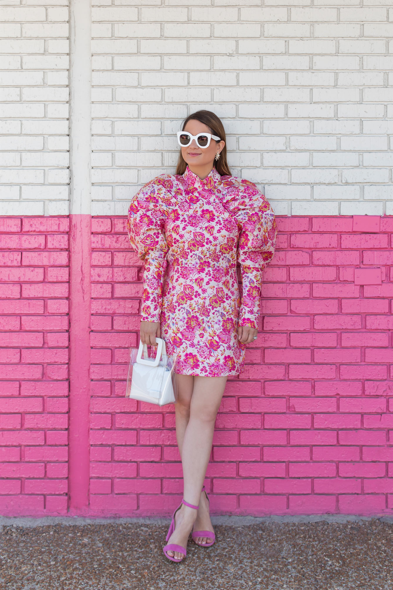 Pink Floral Statement Sleeve Mini Dress
