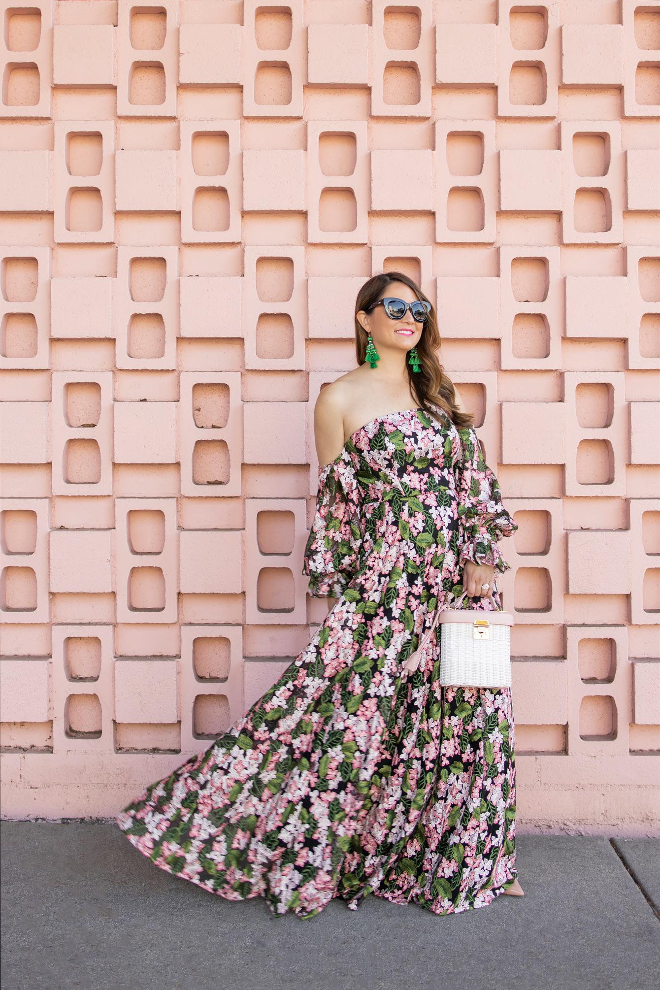 ASOS Pink Green Lace Maxi Dress