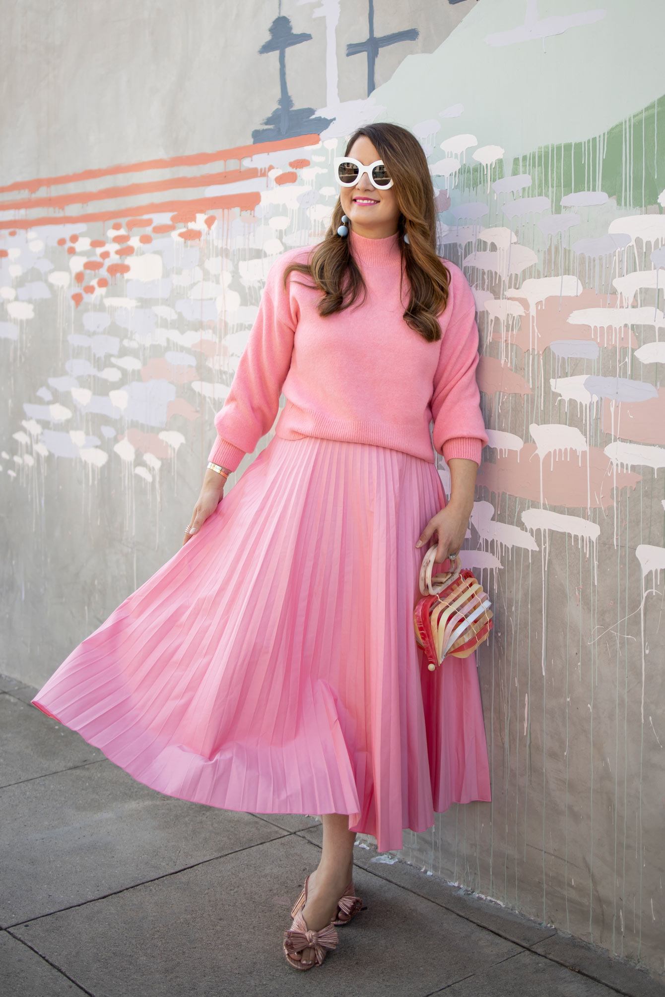ASOS Pink Pleated Skirt