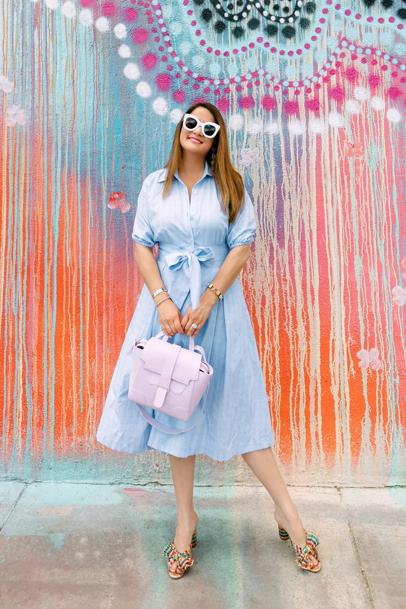 Chambray Tie Waist Shirt Dress