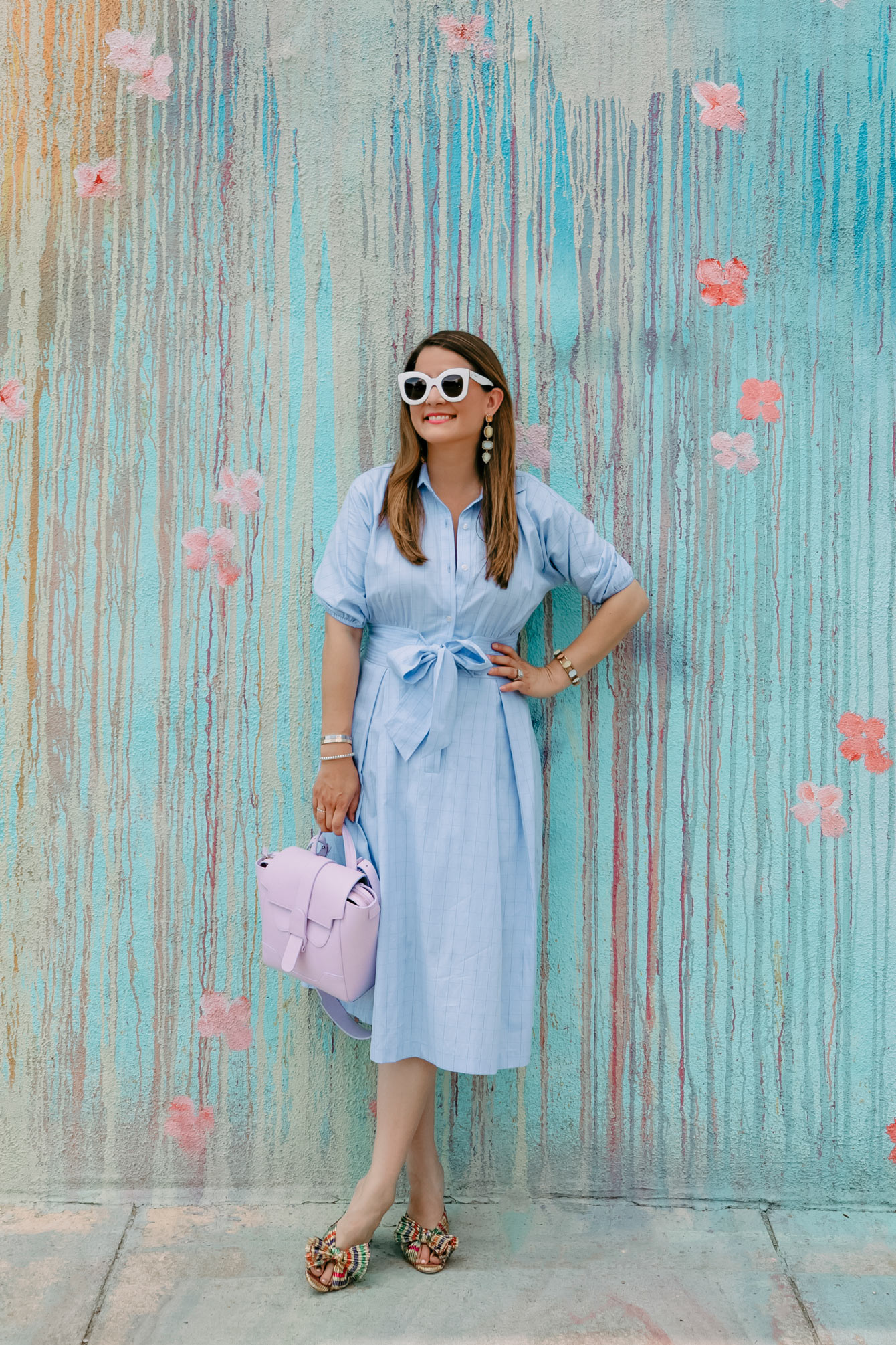 Eliza J Chambray Shirt Dress
