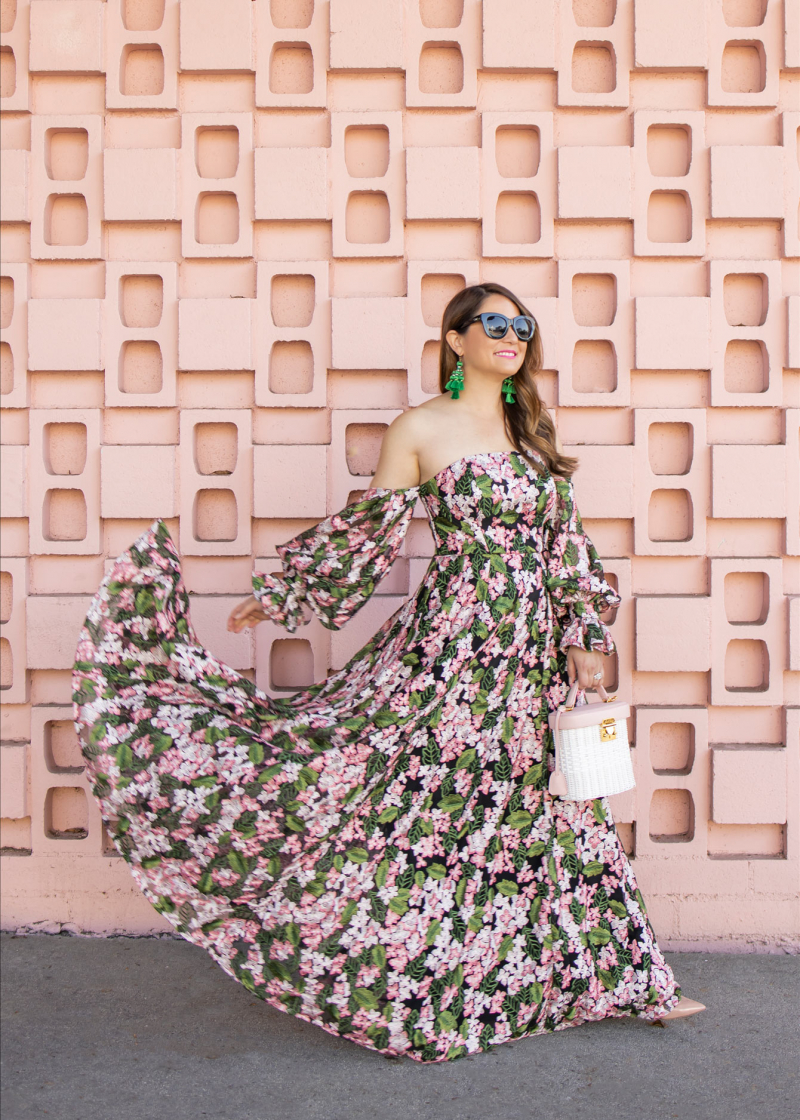 Floral Lace Off Shoulder Maxi Dress