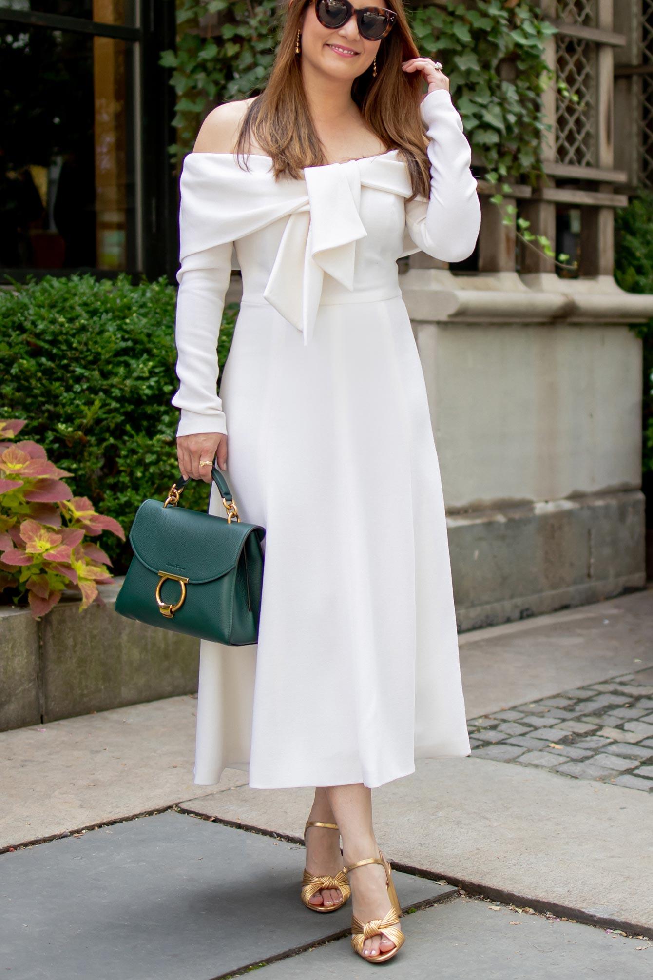 Ivory Tie Front Midi Dress
