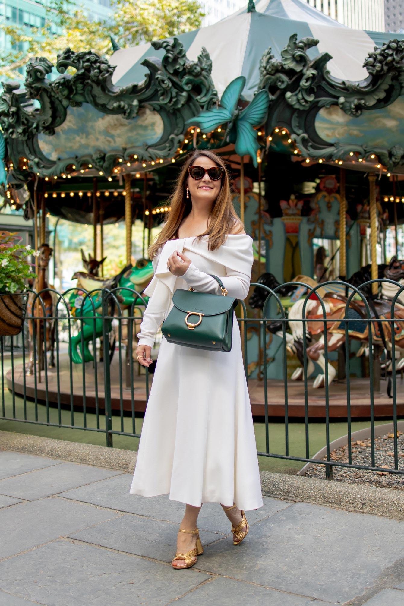 Jennifer Lake Lela Rose Ivory Dress
