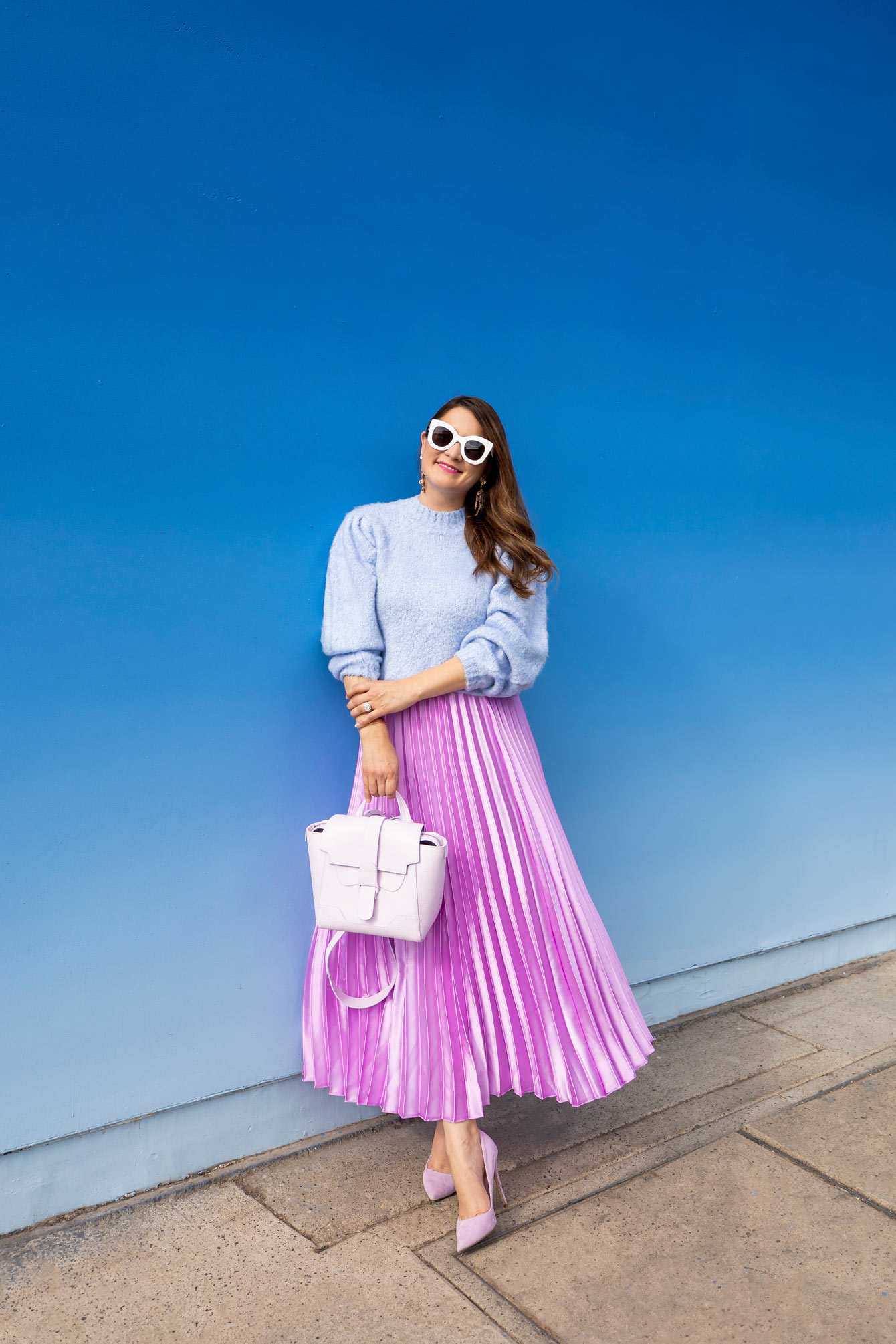 Lavender Pleated Midi Skirt