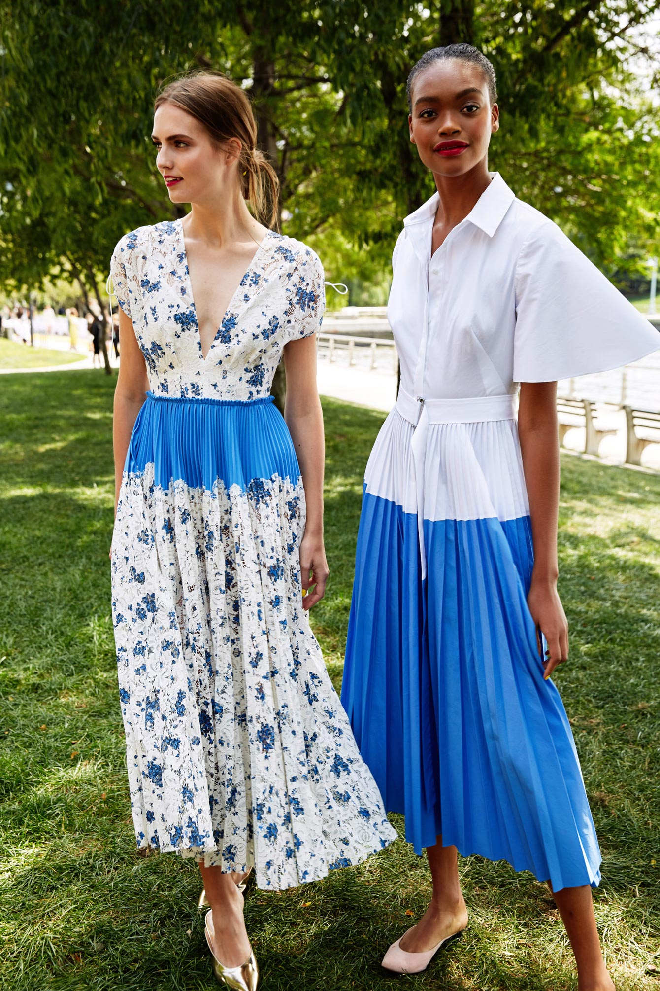 Lela Rose Blue White Pleated Dress
