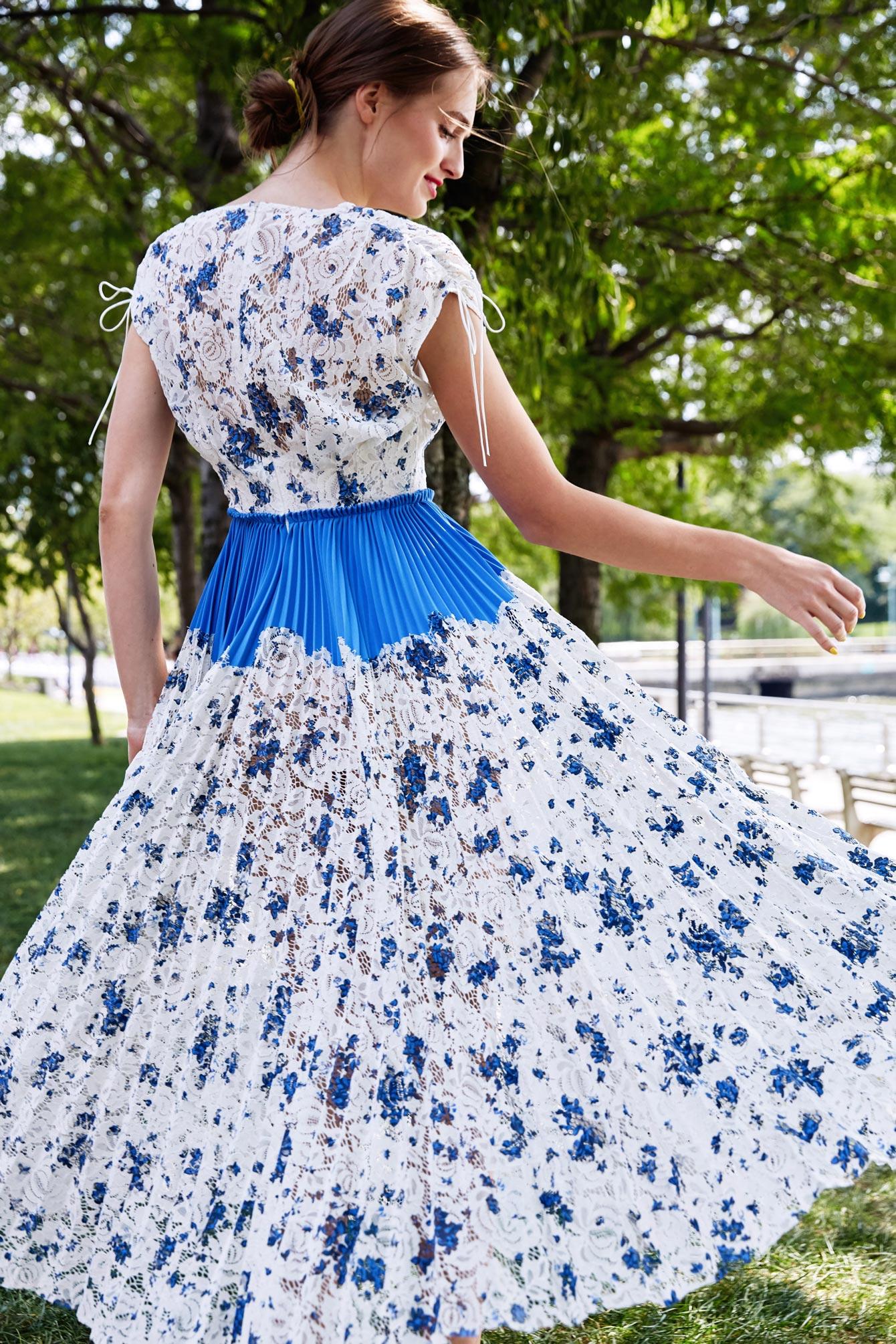 Lela Rose Floral Lace Fit Flare Dress