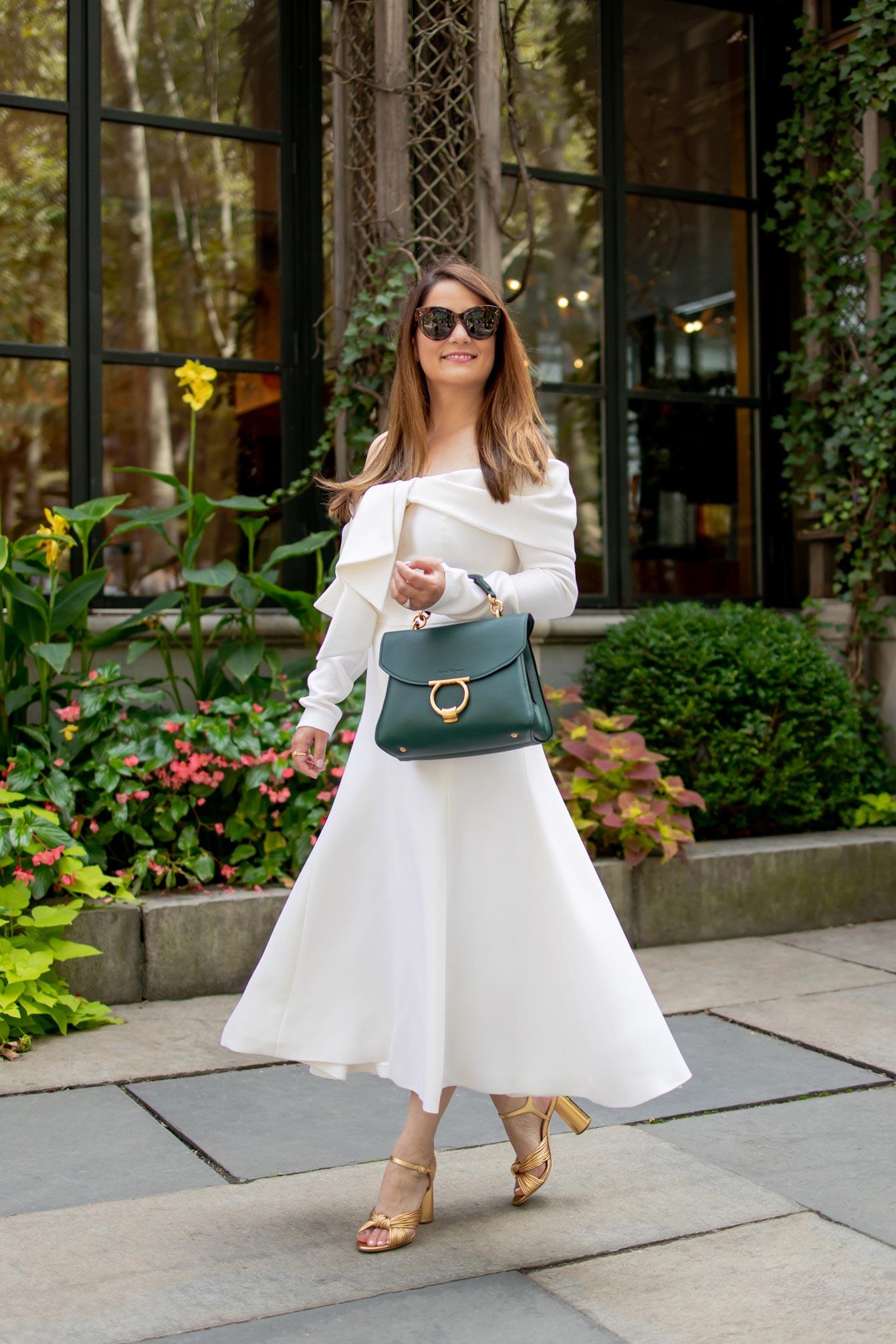 Lela Rose Ivory Tie-Front Midi Dress