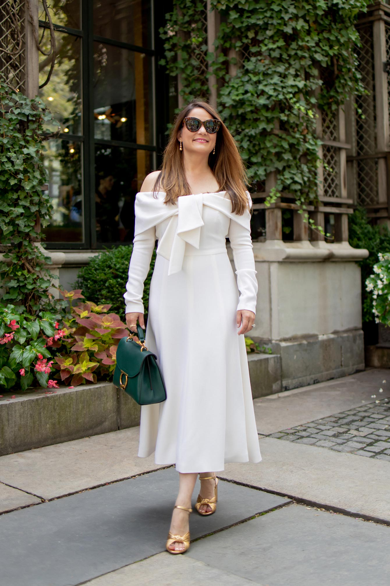 Long Sleeve Ivory Midi Dress