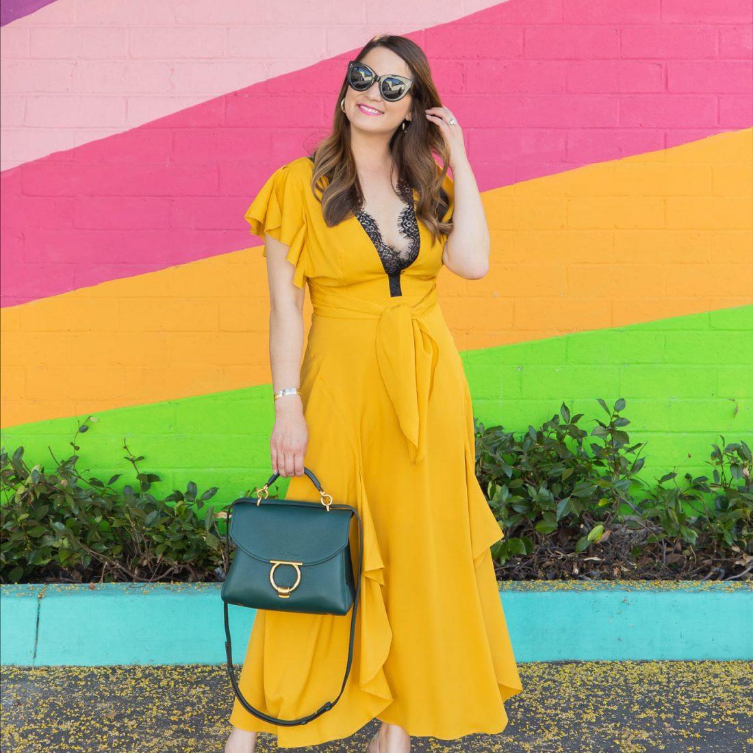 Topshop Yellow Ruffle Wrap Dress