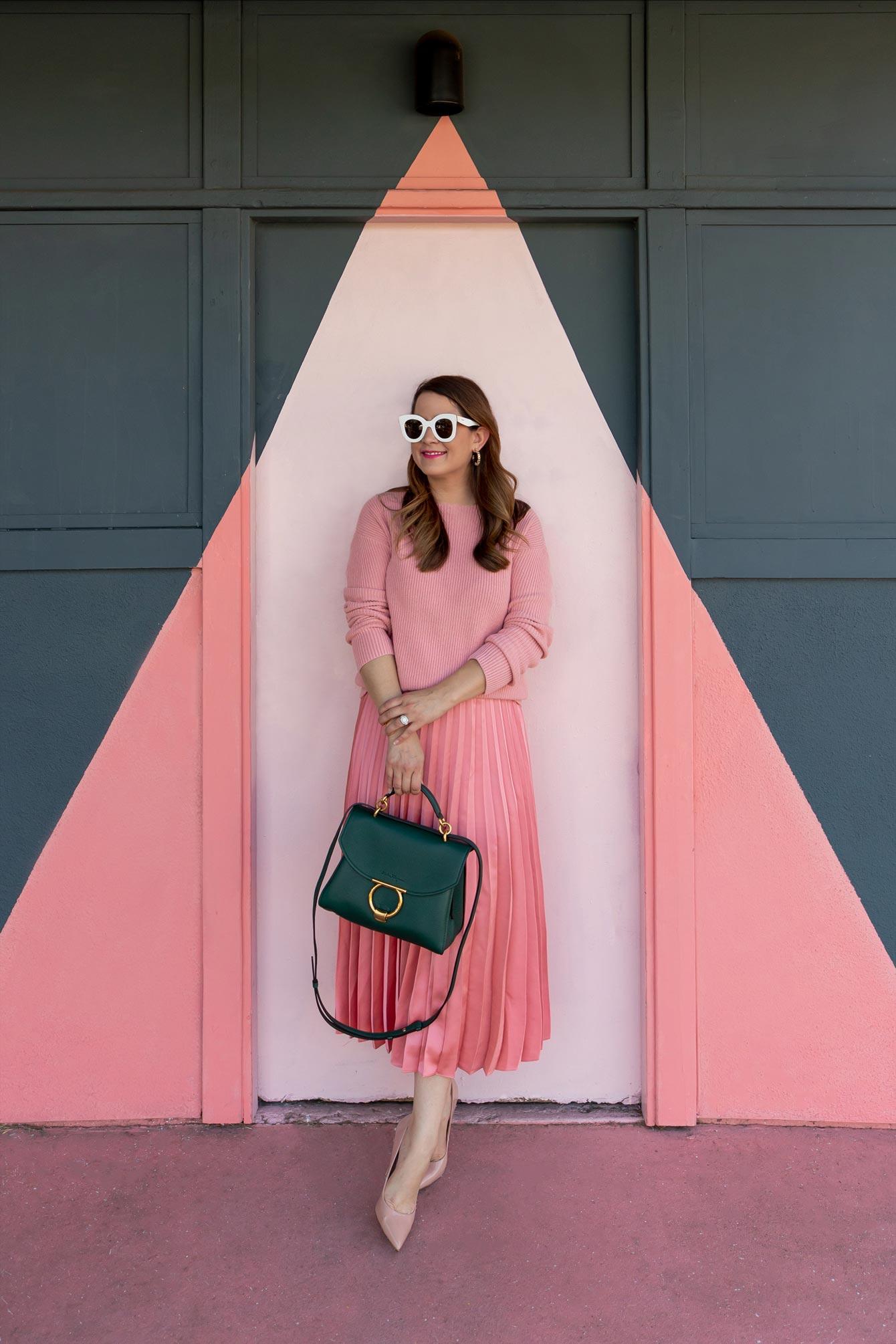 J. Crew Pink Pleated Skirt