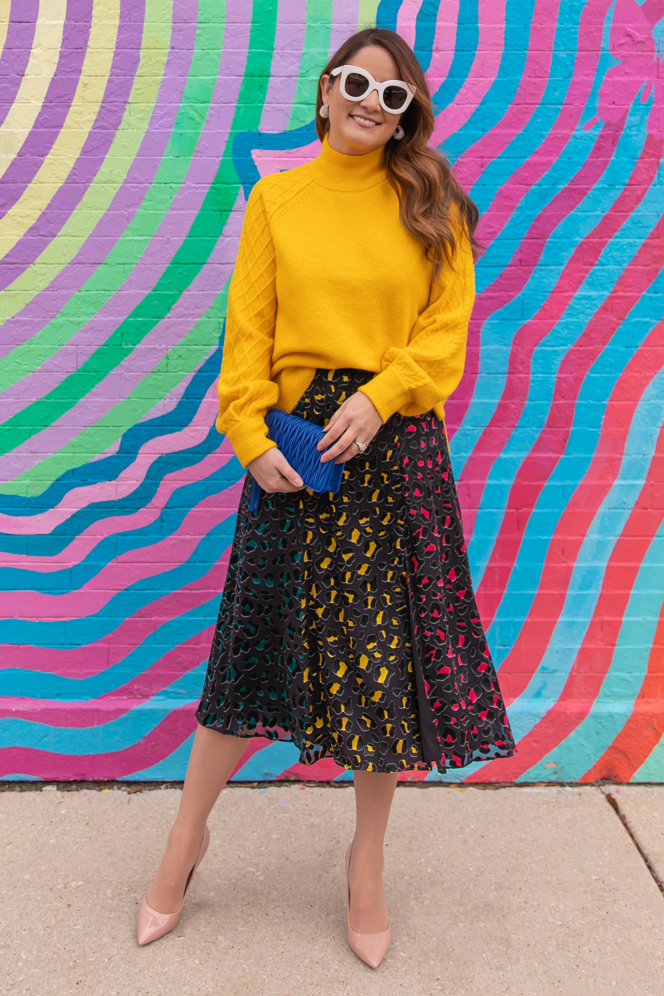 Alice Olivia Multicolor Midi Skirt