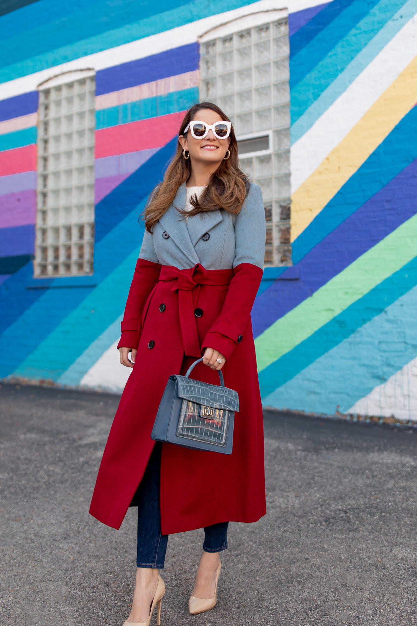Blue Red Colorblock Coat