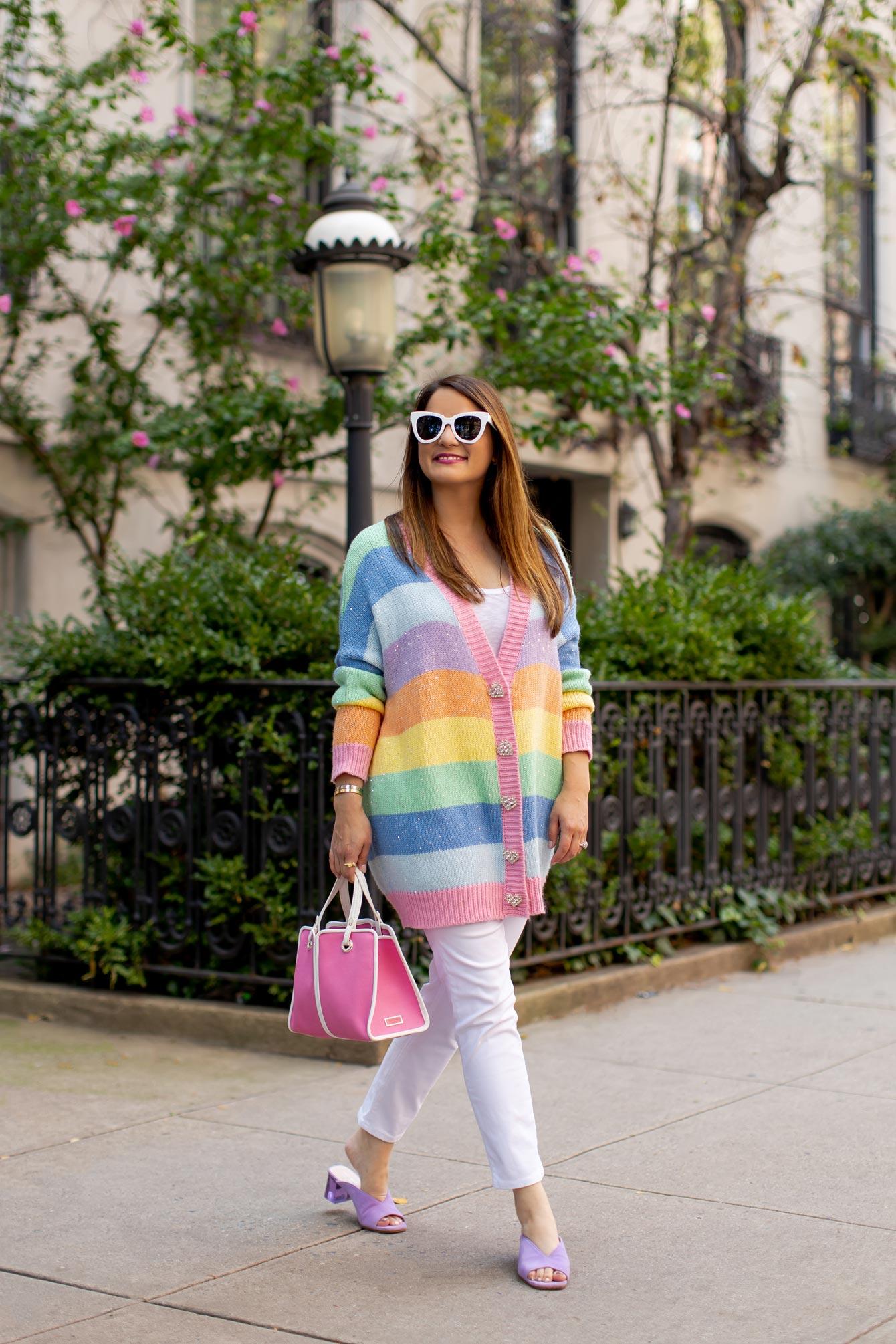 Olivia Rubin Rainbow Stripe Cardigan